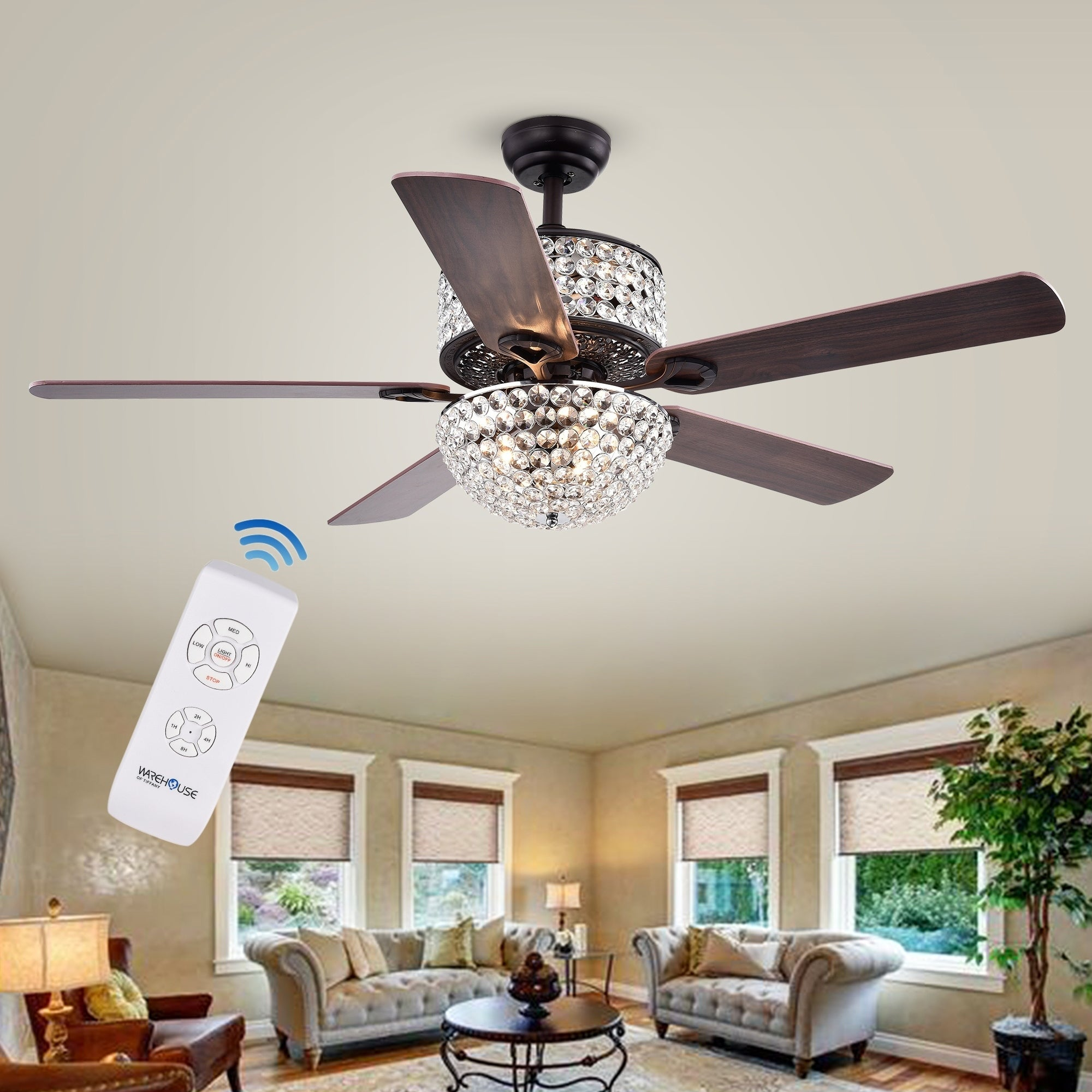 Shop Laure Crystal 6 Light Crystal 5 Blade 52 Inch Ceiling Fan (Optional  Remote)   Free Shipping Today   Overstock.com   13331001