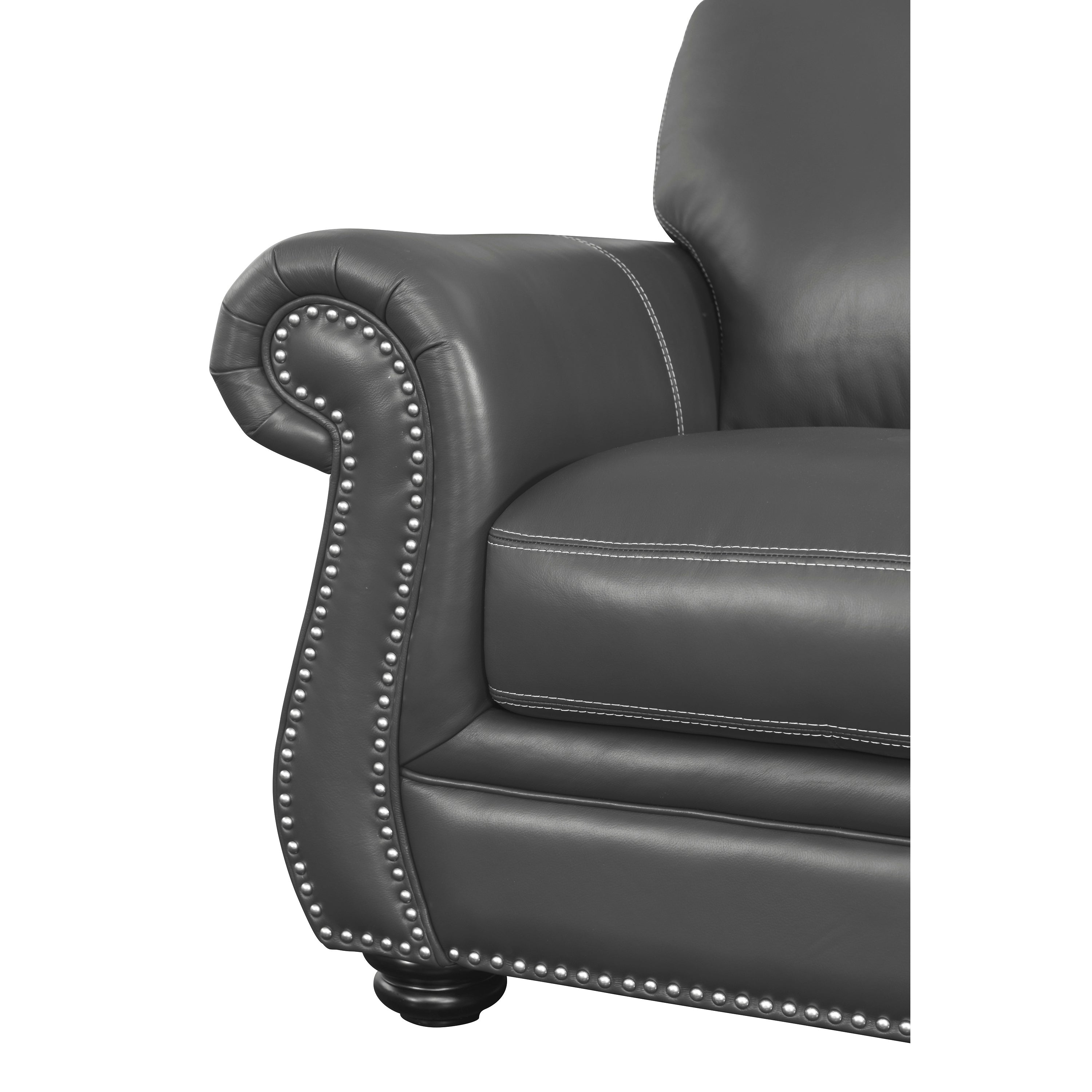 Shop Abbyson Kassidy Grey Leather Sofa   On Sale   Free Shipping Today    Overstock.com   13331844