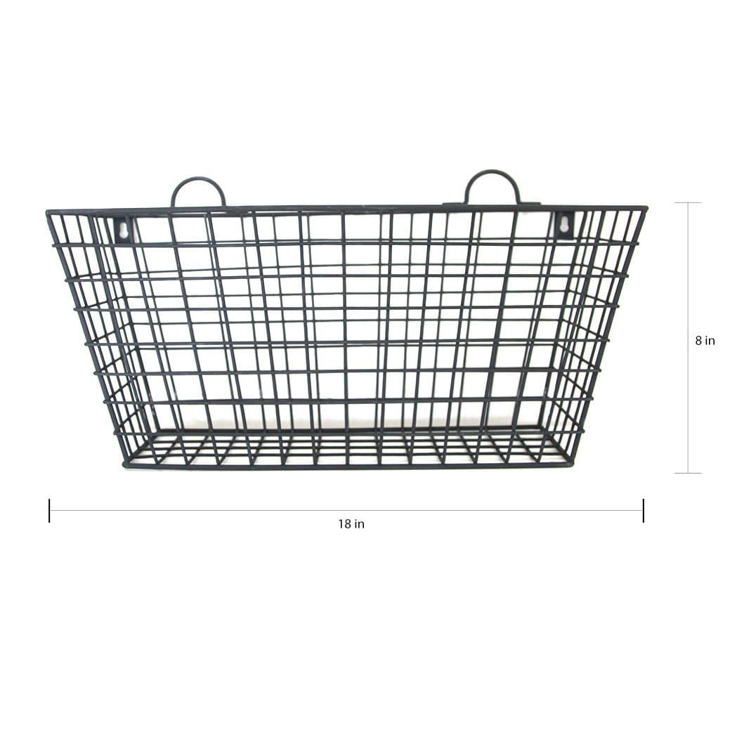 Shop Black Metal Long Multi-functional Wall Hanging Wire Basket ...