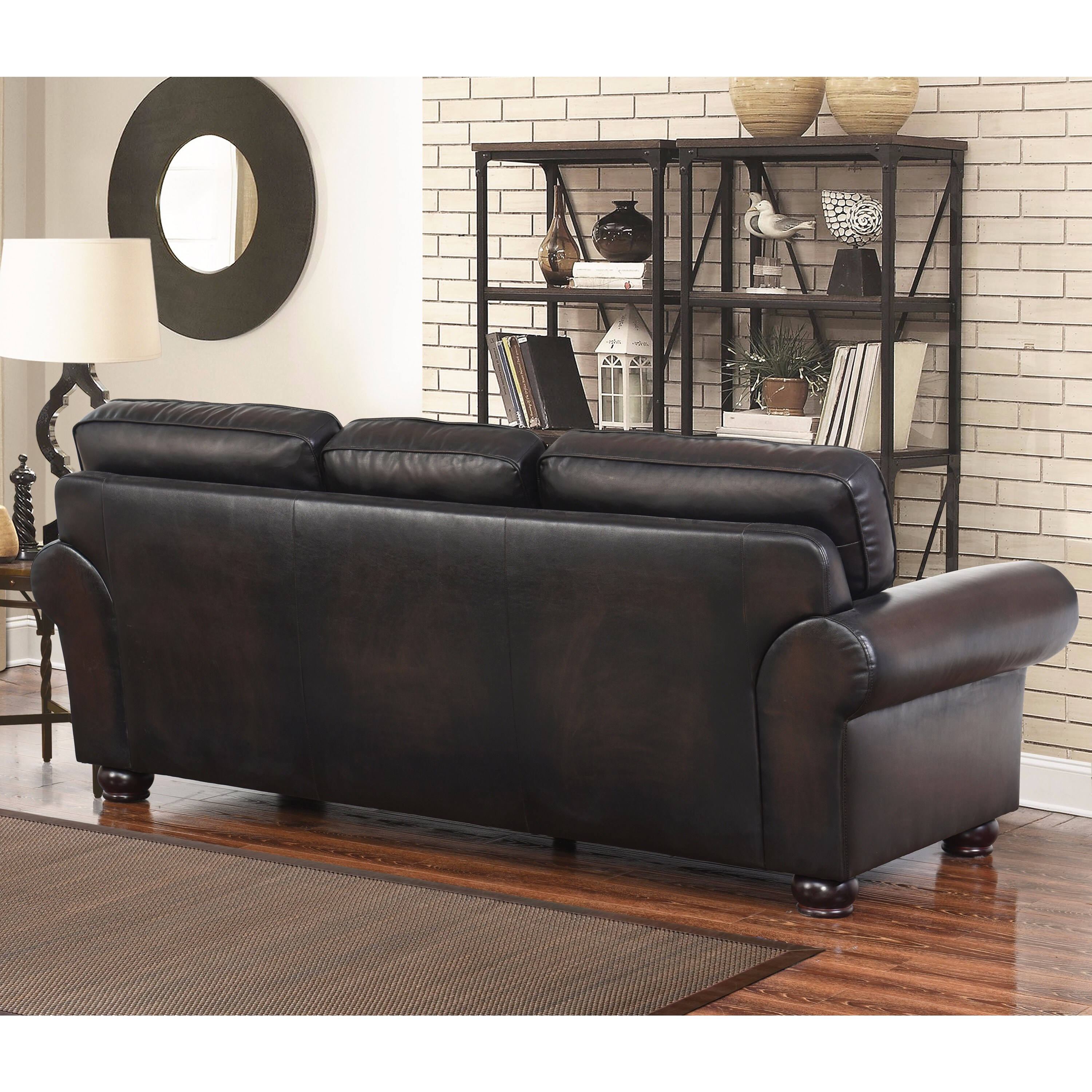 Abbyson Braxton Brown Bonded Leather Sofa   Free Shipping Today    Overstock.com   20042037