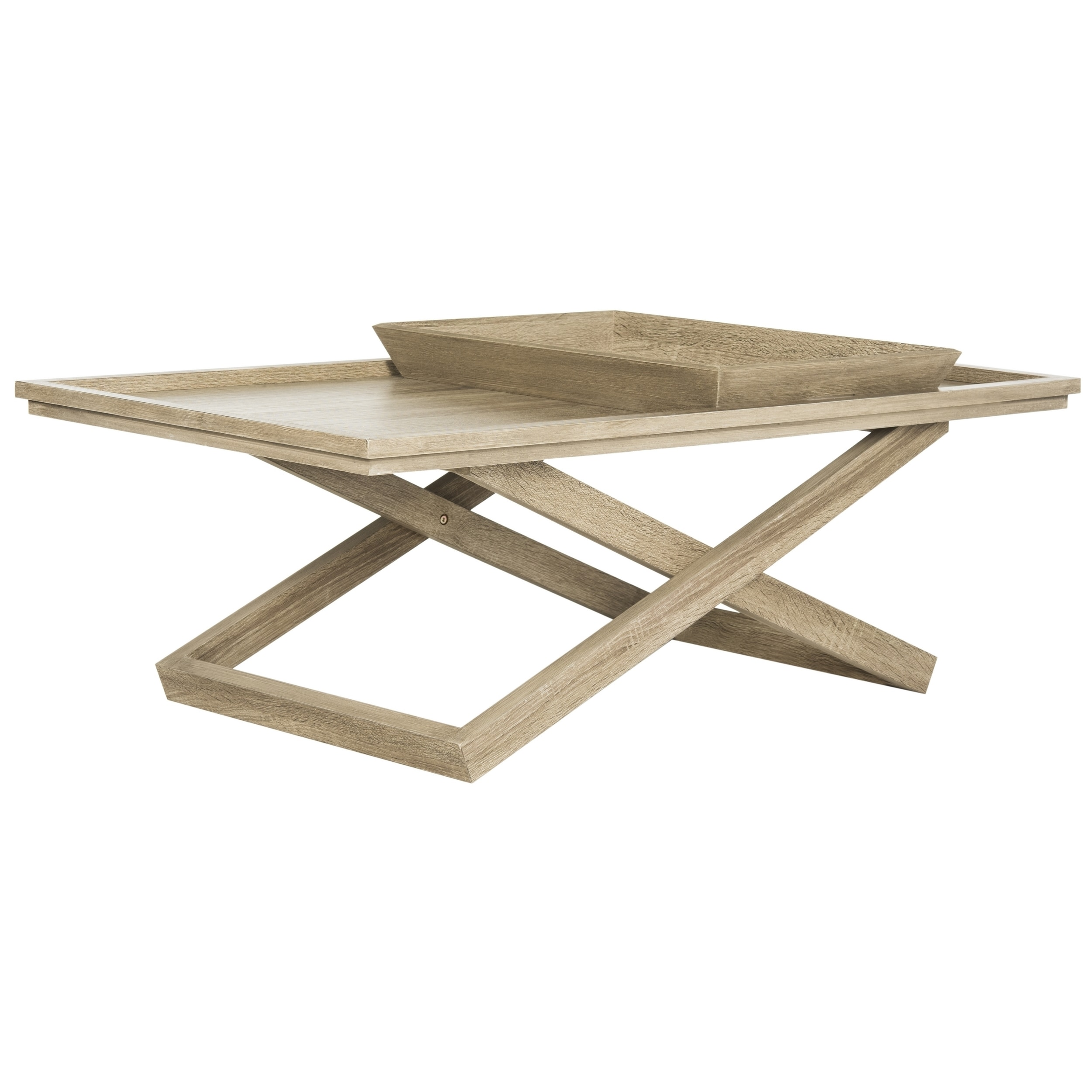Shop Safavieh Arleana Cross Leg Coffee Table U0026 Tray   Free Shipping Today    Overstock.com   13339544