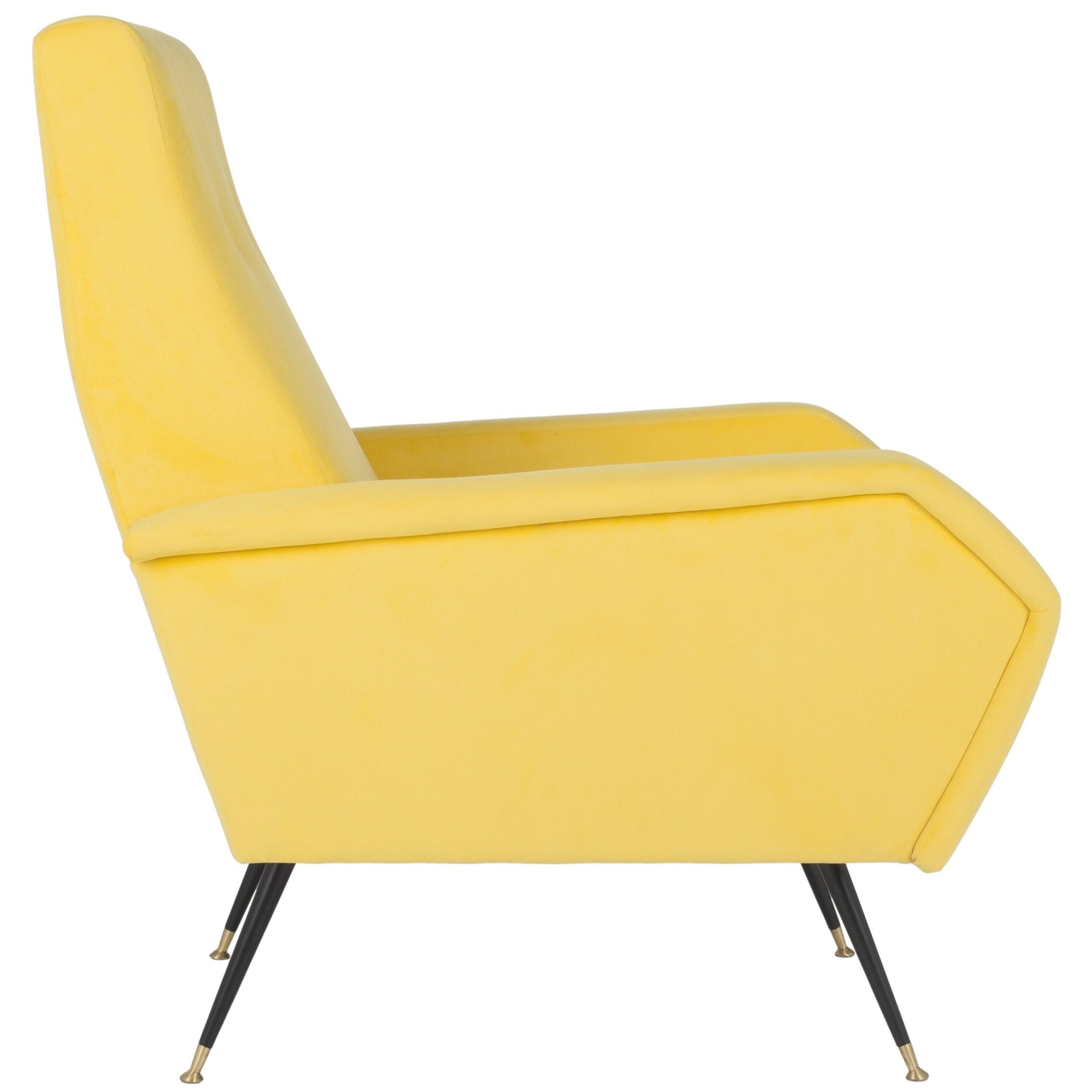 Safavieh Mid Century Modern Retro Aida Velvet Yellow Club Chair Free Shipping Today 13341777