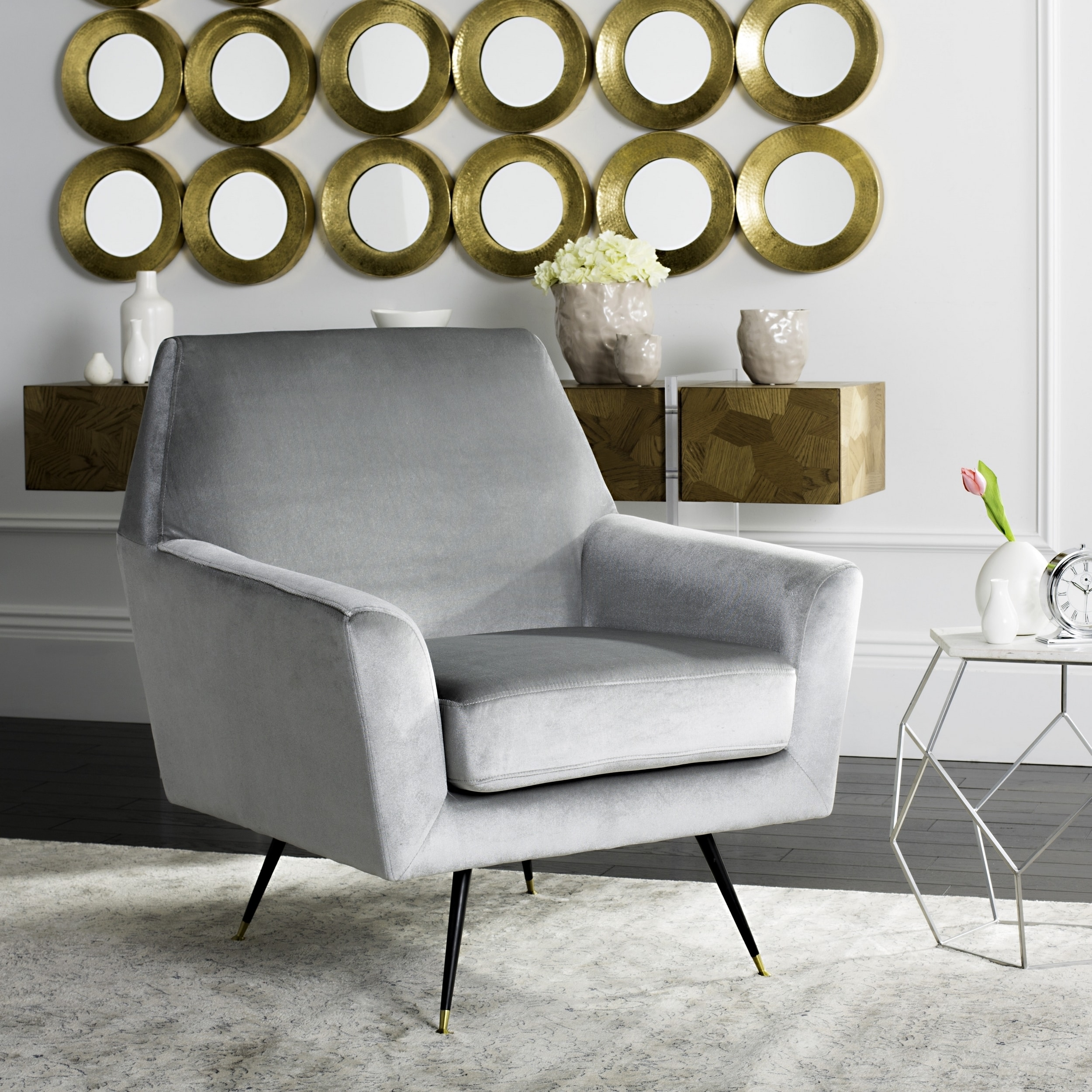 Shop Safavieh Mid Century Modern Nynette Velvet Light Grey Club Chair   On  Sale   Free Shipping Today   Overstock.com   13341885
