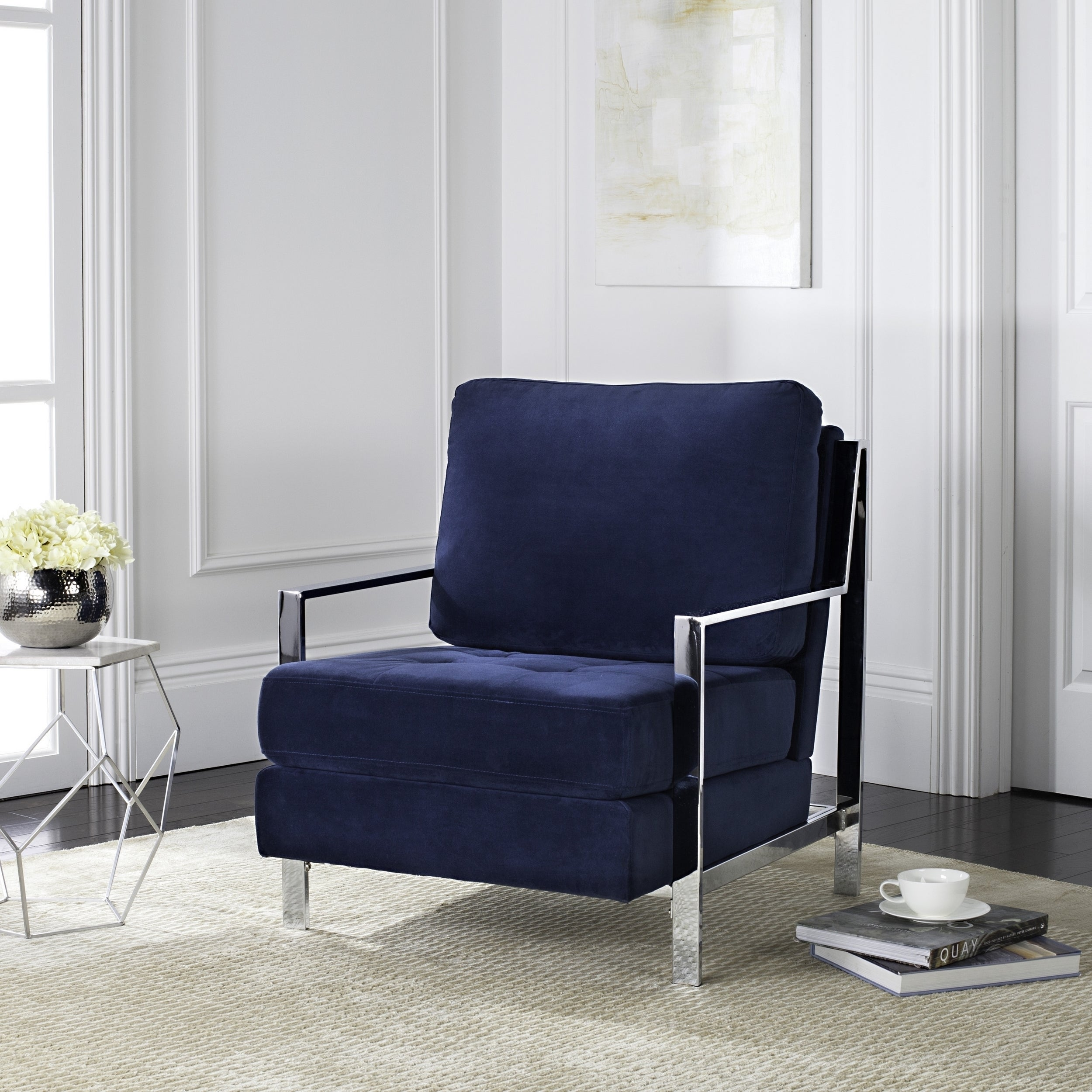 Best Blue Velvet Accent Chair Exterior