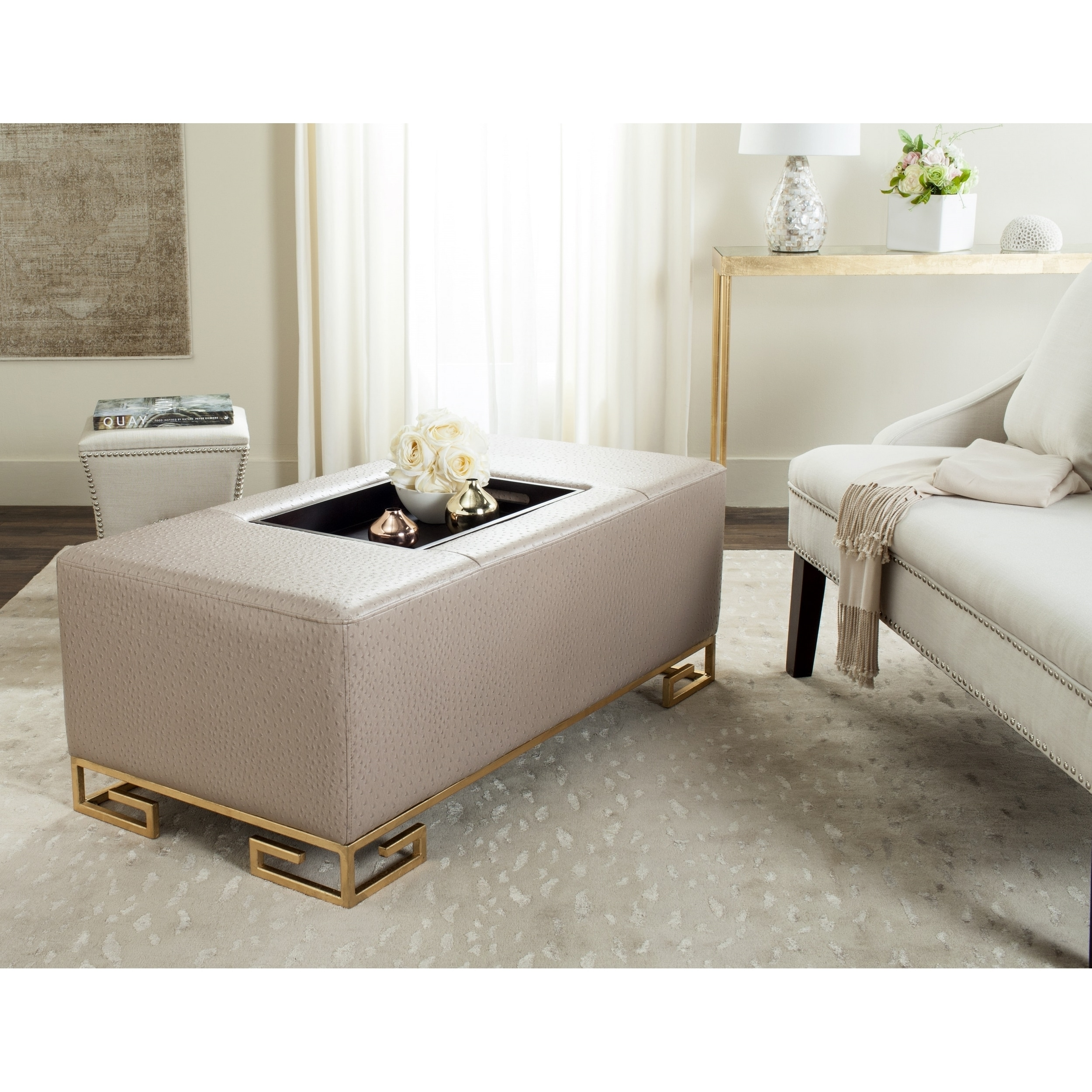 Safavieh Julian Faux Ostrich Tray Taupe Ottoman Coffee Table Free Shipping Today 13342437