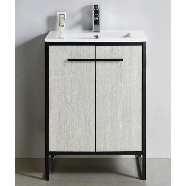 "Shop Vdara 24"" Silver Gray Bathroom Vanity Cabinet Set - Free Shipping Today - Overstock.com - 13342534"