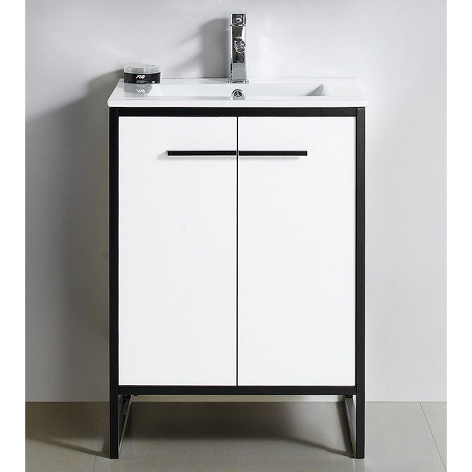 Vdara 24 White Bathroom Vanity Cabinet Set