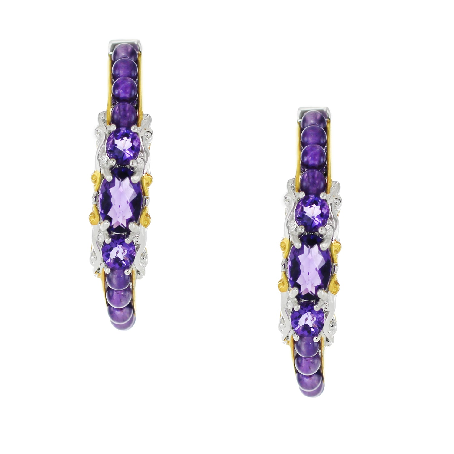 One Of A Kind Michael Valitutti Palladium Silver African Amethyst Earrings Free Shipping Today 13342623