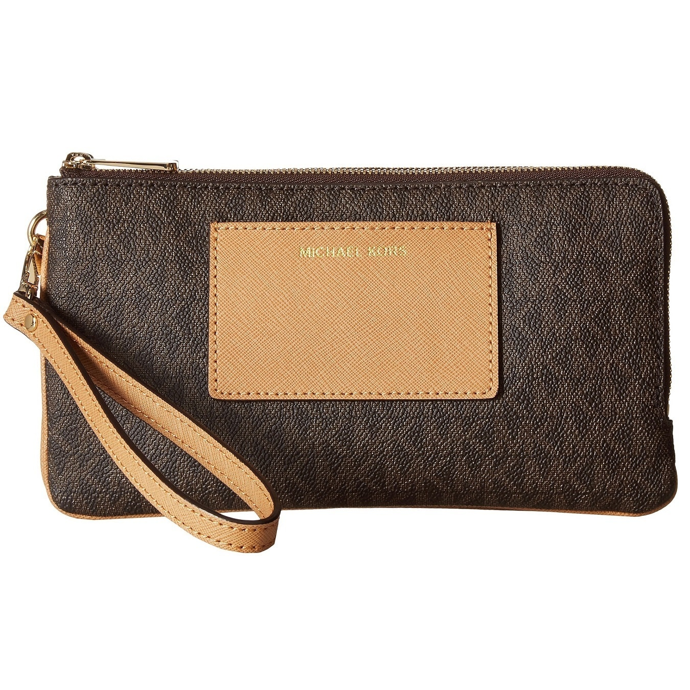 d69bb09aef9d Shop Michael Kors Large Brown Double Zip Wristlet with Pocket - On Sale - Free  Shipping Today - Overstock - 13343156