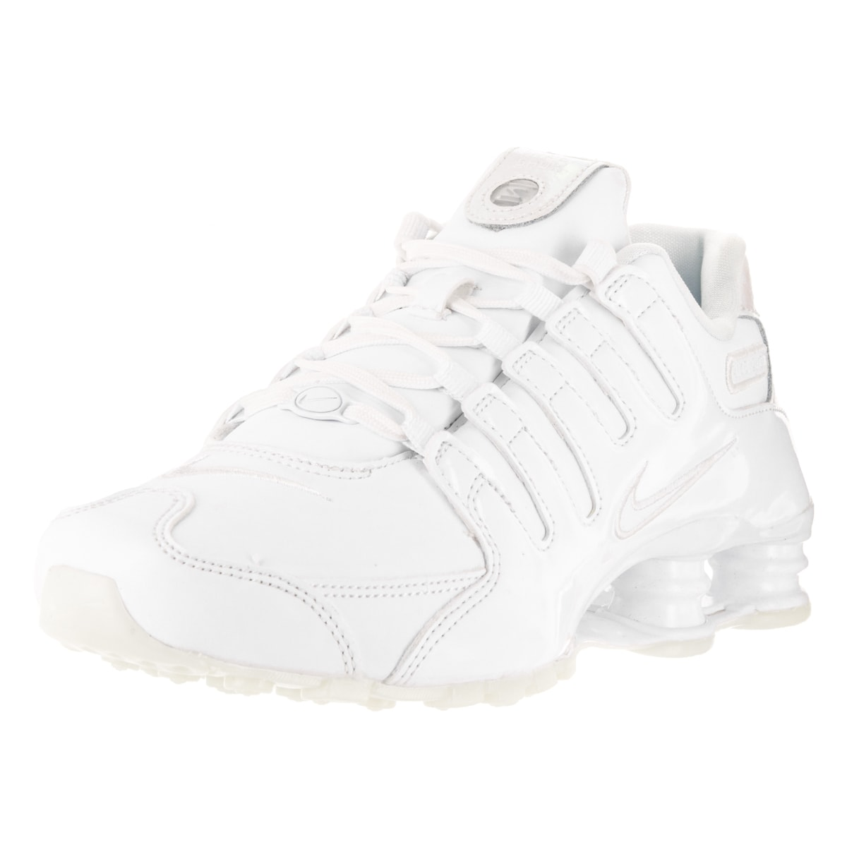 Shop Nike Women s Shox NZ White White Blue Tint White Leather Running Shoe  - Free Shipping Today - Overstock - 13343946 6d4004af8