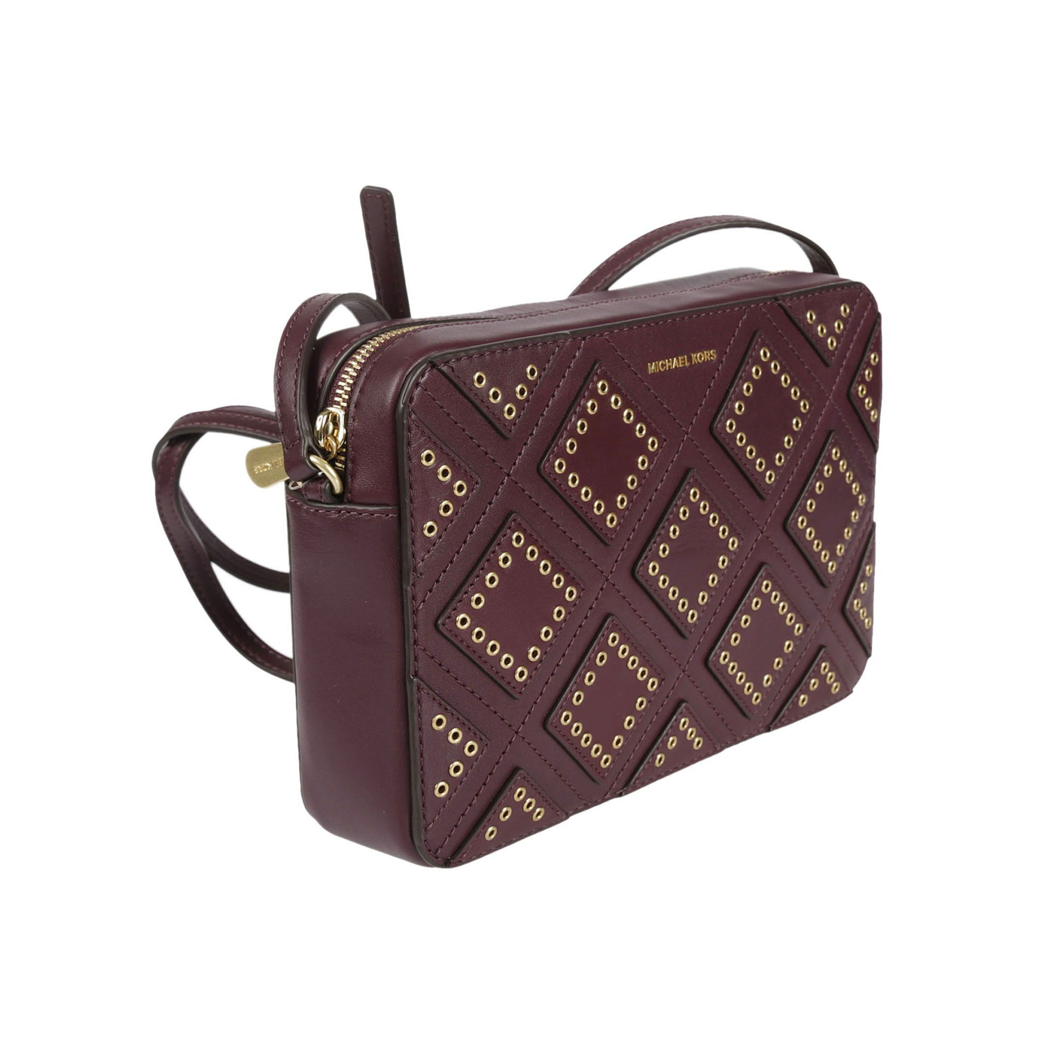 9bb7075317bf7a Shop Michael Kors Plum Leather Diamond Grommet Jet Set Travel Large East  West Crossbody - Free Shipping Today - Overstock - 13344123