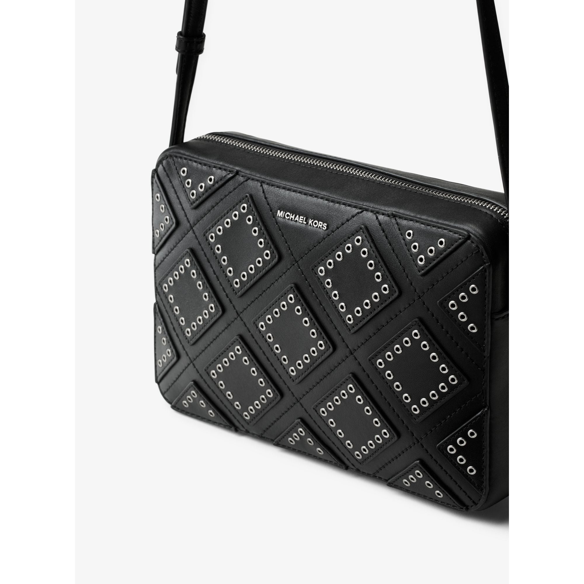 de6cff0018b6f2 Shop Michael Kors Black Diamond Grommet Jet Set Travel Large East West Crossbody  Handbag - Free Shipping Today - Overstock - 13344143