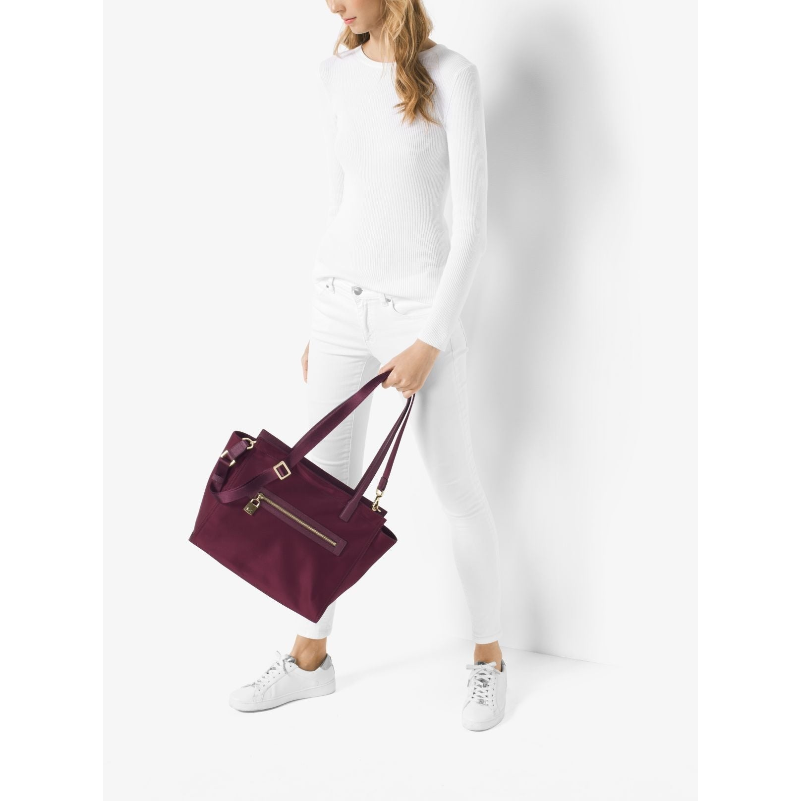 71321d3b1c2fc5 Shop Michael Kors Janie East West Plum Nylon Large Tote Bag - Free Shipping  Today - Overstock - 13344274