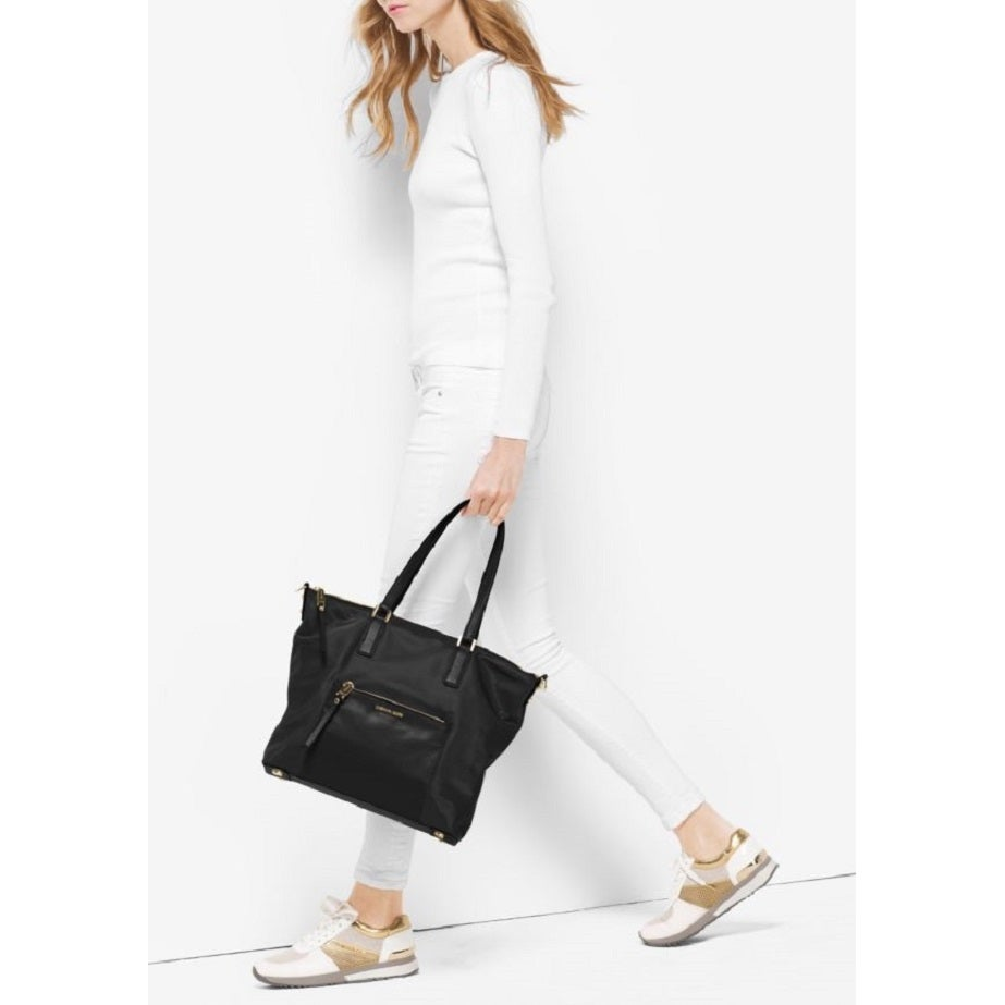 d6f2928ab167 Shop Michael Kors Ariana Large Nylon Black Tote Bag - Free Shipping Today -  Overstock - 13344400