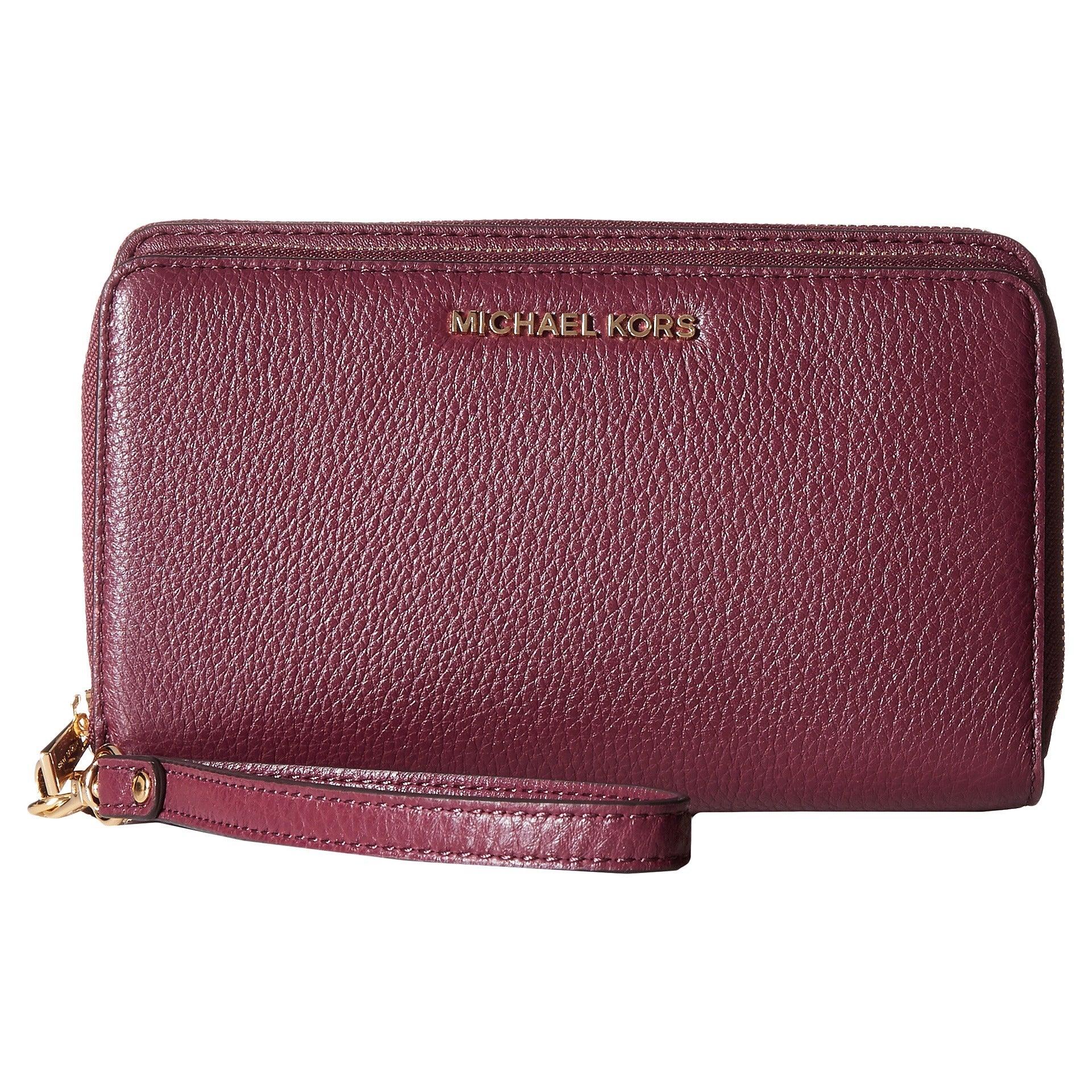 608e07459c9d Shop Michael Kors Adele Plum Leather Double-zip Wallet - Free ...