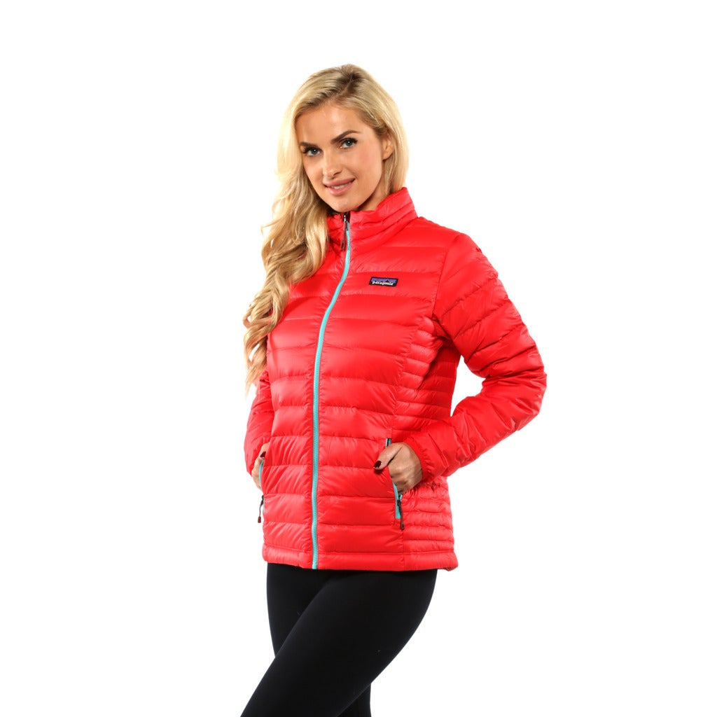 f10fdcba7 Patagonia Women's French Red with Mogul Blue Down Sweater Jacket