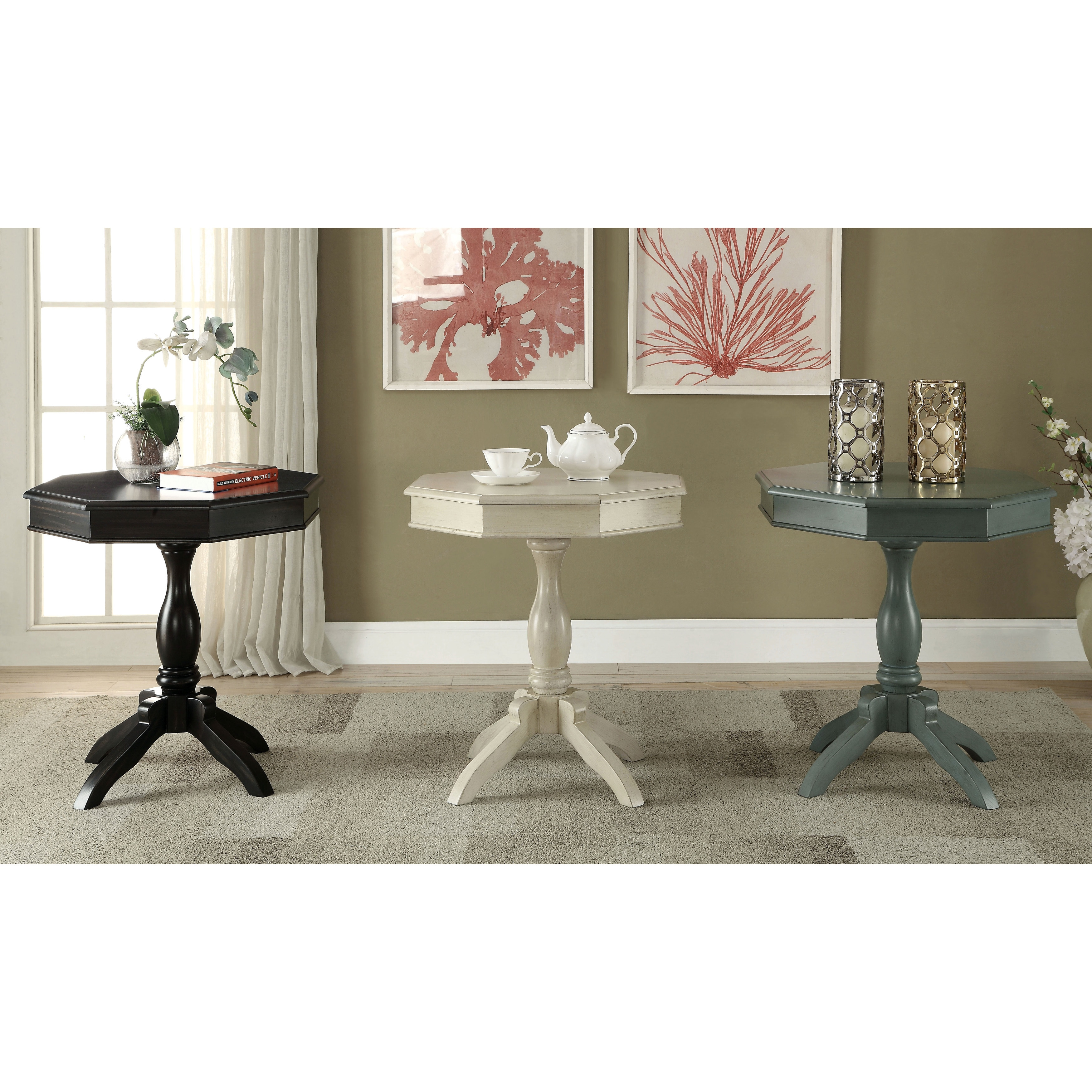 Shop Furniture Of America Ardelle Vintage Shabby Chic Octagon Side Table    Free Shipping Today   Overstock.com   13370415