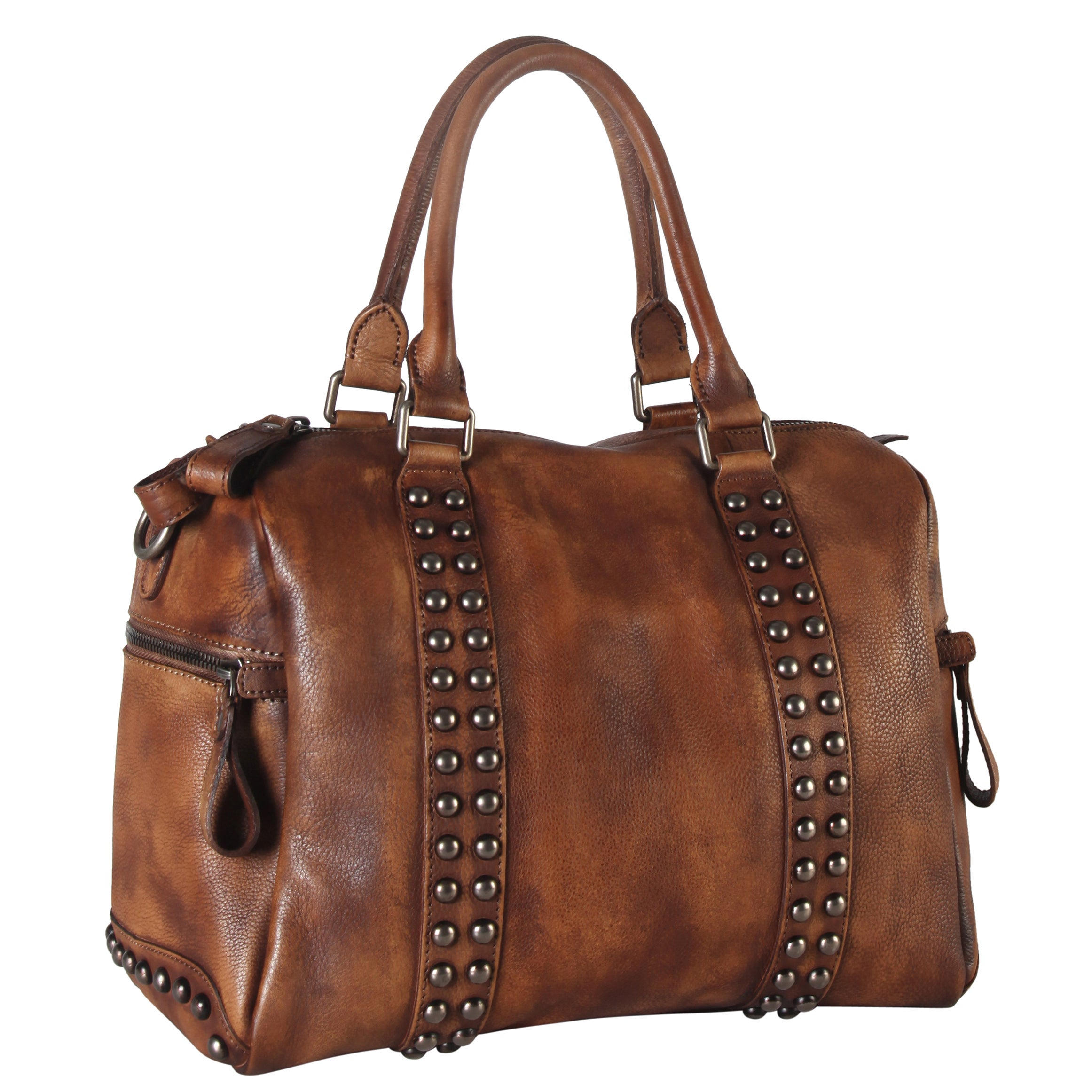 a27ade9b9b Shop Diophy Genuine Leather Medium Studded Doctor-style Tote Bag - Free  Shipping Today - Overstock - 13371174
