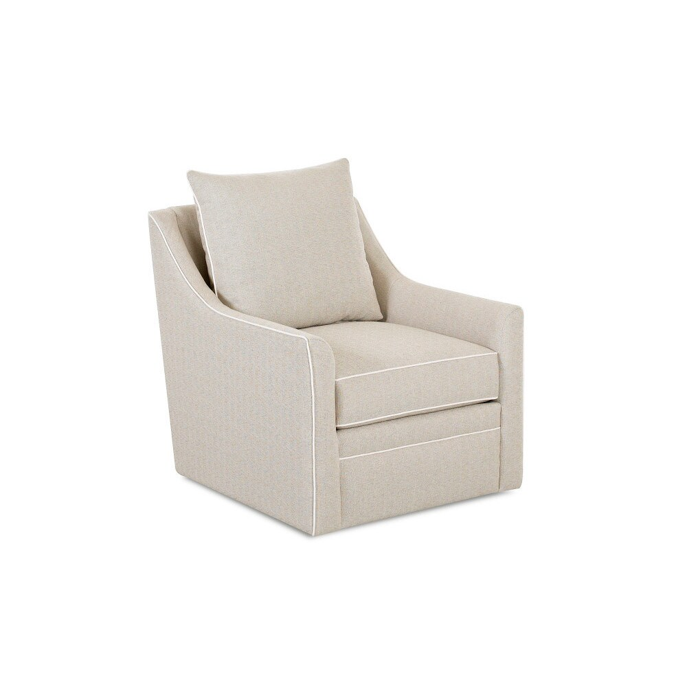 Made To Order Klaussner Furniture Larkin Beige Swivel Chair   Free Shipping  Today   Overstock   20072115