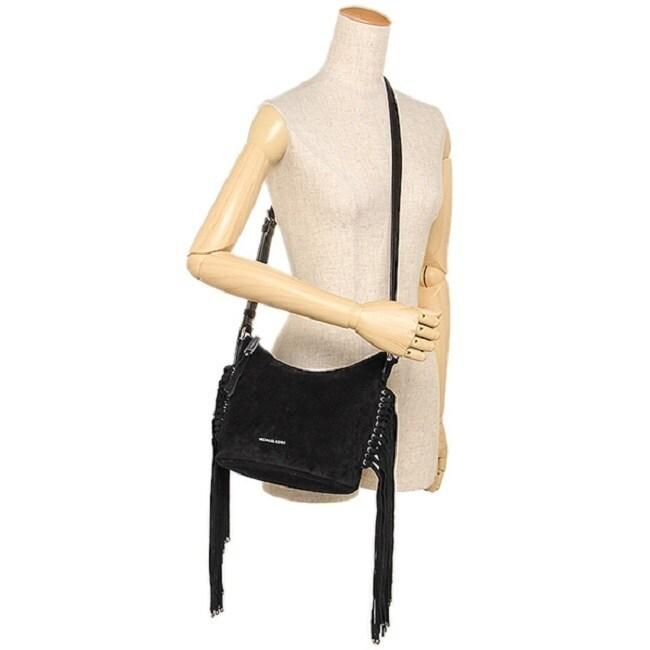 ac34c3e45c6db3 Shop Michael Kors Billy Black Leather Medium Fringe Crossbody Handbag -  Free Shipping Today - Overstock - 13372934