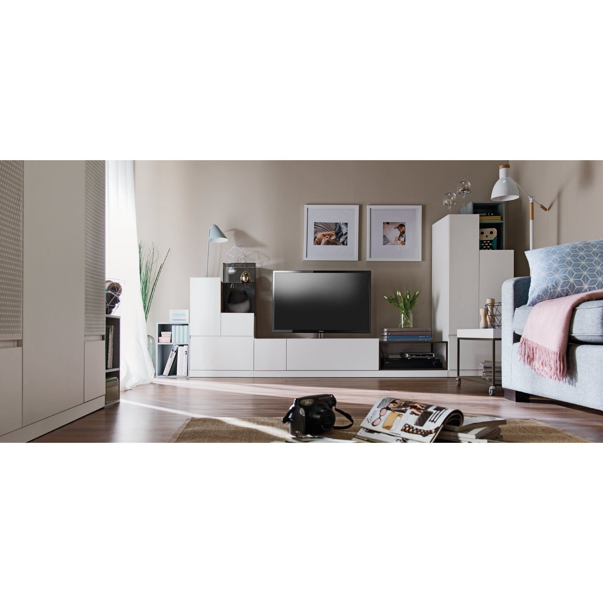 Good Voelkel Muto Collection Wooden Low L Shaped Storage Cabinet   Free Shipping  Today   Overstock.com   20089321