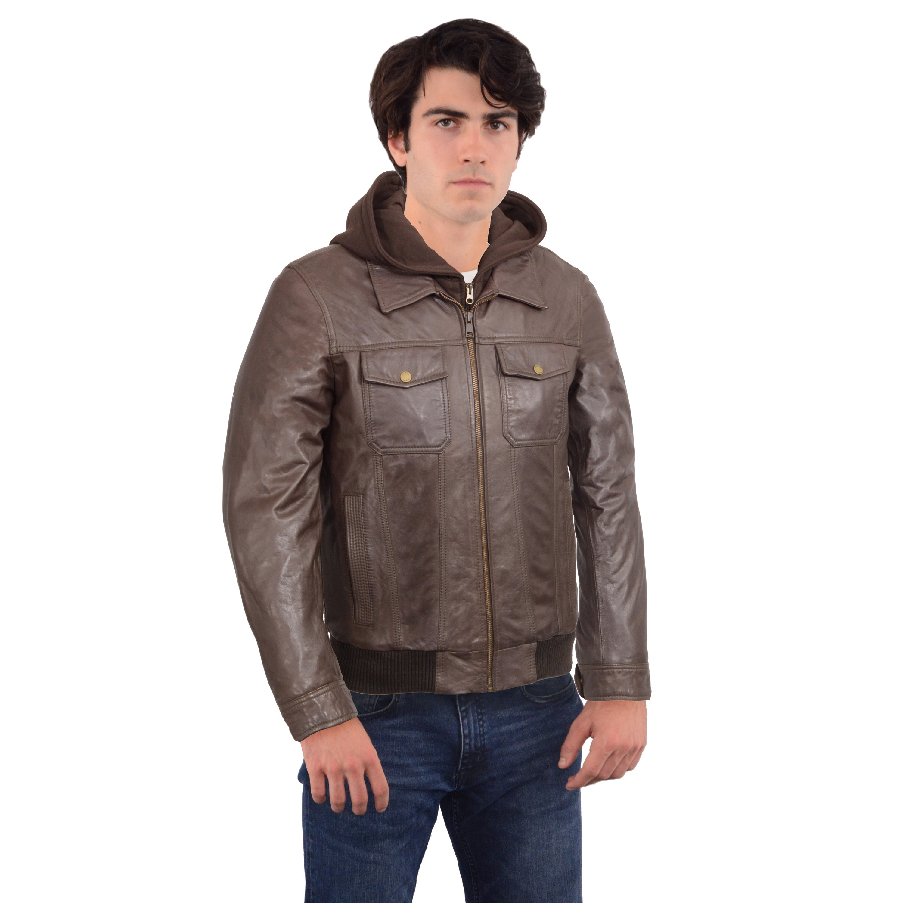 Shop Black Rivet Men s Brown Leather Hooded Bomber Jacket - Free Shipping  Today - Overstock - 13393206 e4506f134