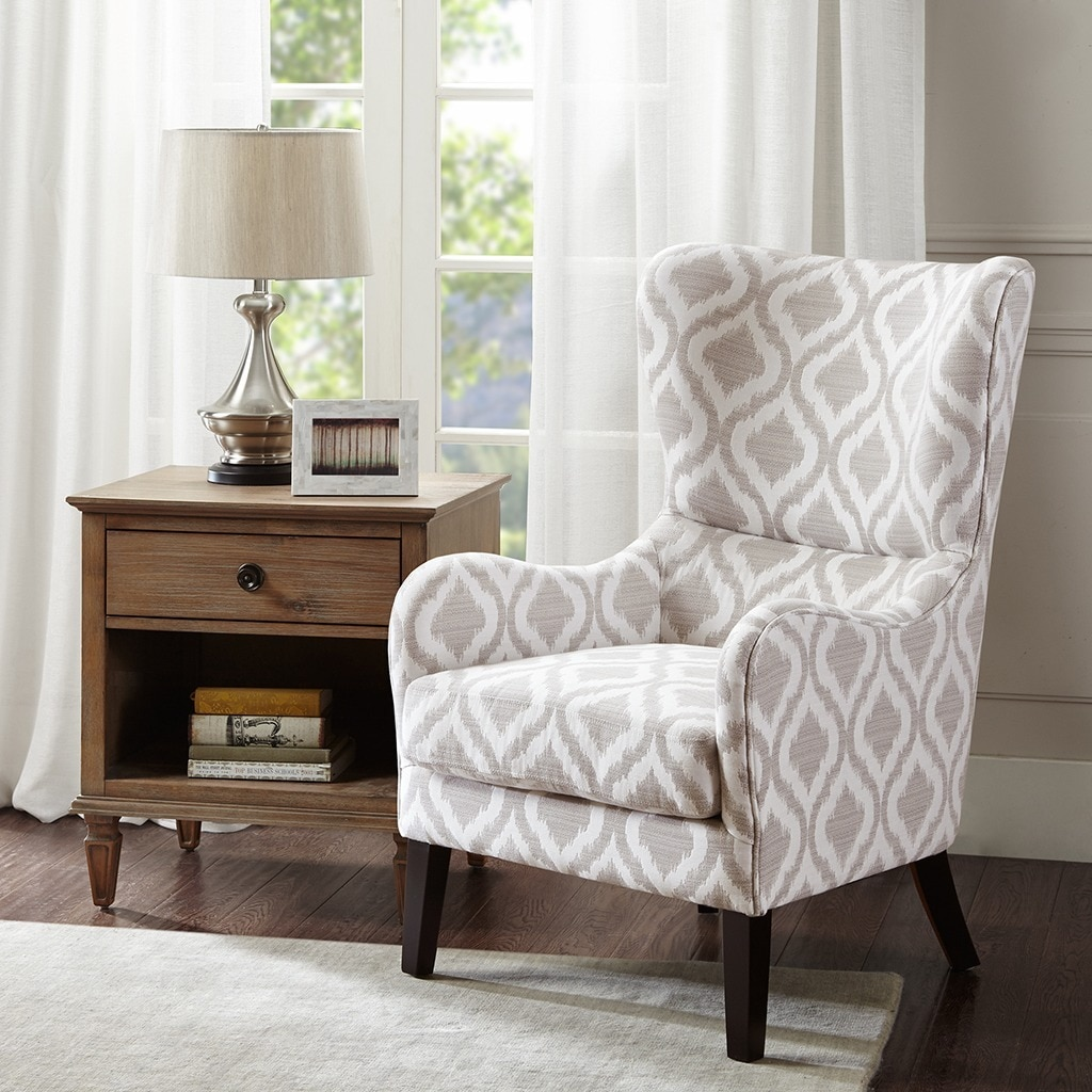 Shop Madison Park Leda Grey/White Swoop Wing Chair - Free Shipping ...