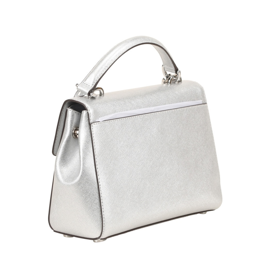 ef7e0d8adb8f Shop Michael Kors Ava Small Saffiano Leather Silver Satchel - Free Shipping  Today - Overstock - 13393427