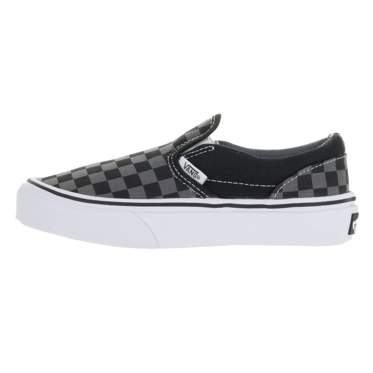 dfc7da26c6b0f0 Shop Vans Kids  Black and Pewter Checkboard Canvas Classic Slip-on Skate  Shoes - Ships To Canada - Overstock.ca - 13394115