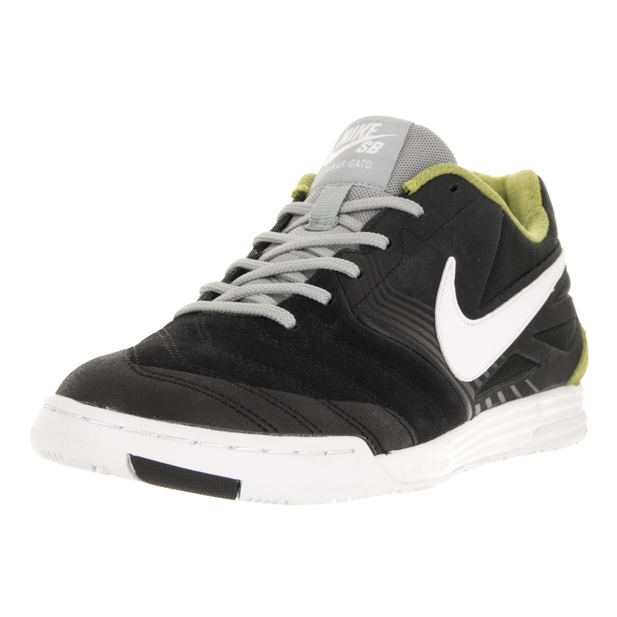 premium selection 670f1 7d213 ... australia shop nike mens sb lunar gato black white venom green bs gry  skate shoe free