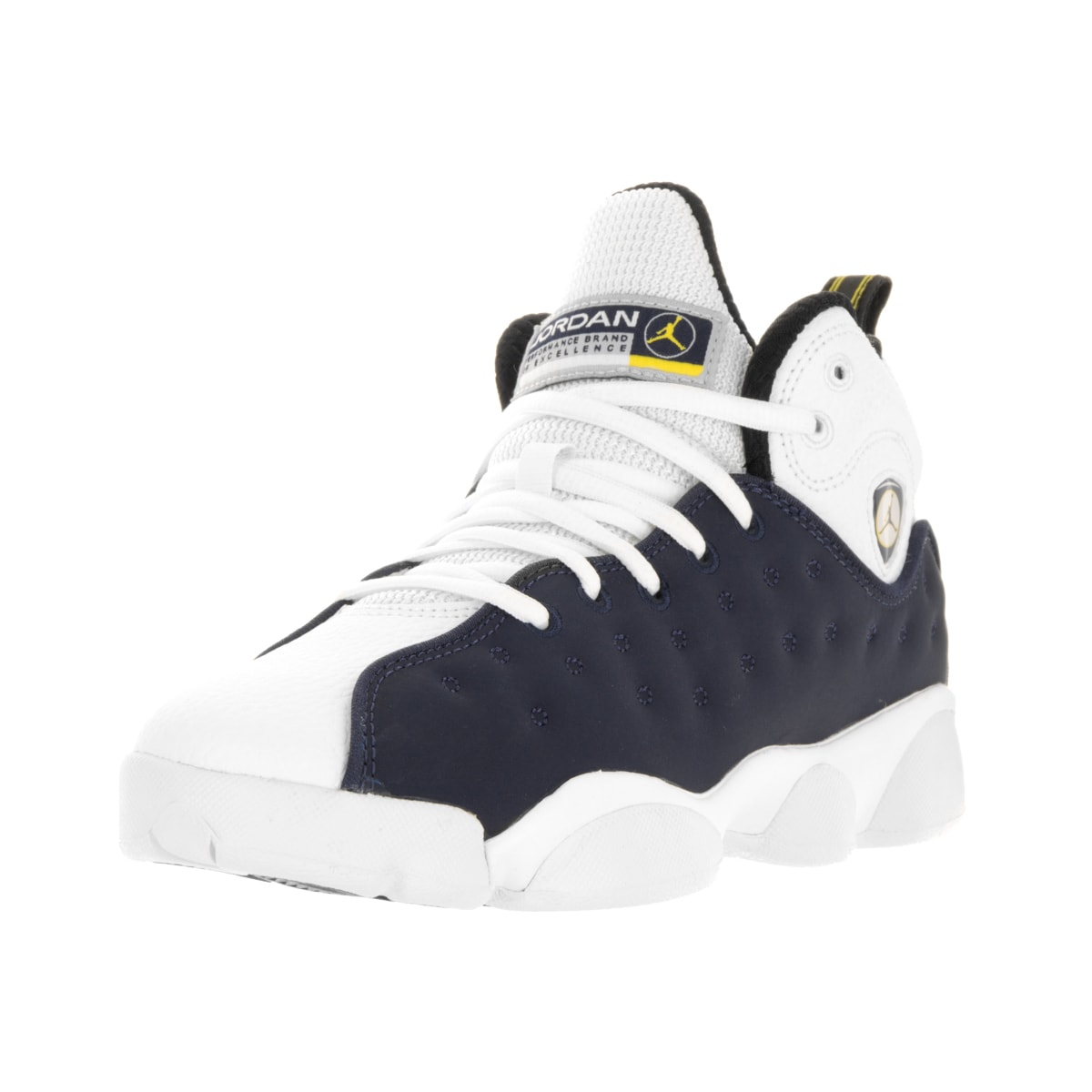 quality design 46eb0 21acc Shop Nike Kid's Jordan Jumpman Team II Navy/White Leather Basketball Shoes  - Free Shipping Today - Overstock - 13394521