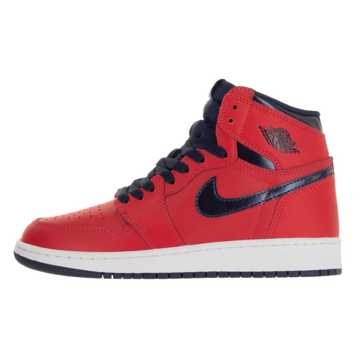 huge selection of 895e2 dd21f Shop Nike Jordan Kids  Air Jordan 1 Retro High Red and Navy Blue Leather Basketball  Shoes - Free Shipping Today - Overstock - 13394587