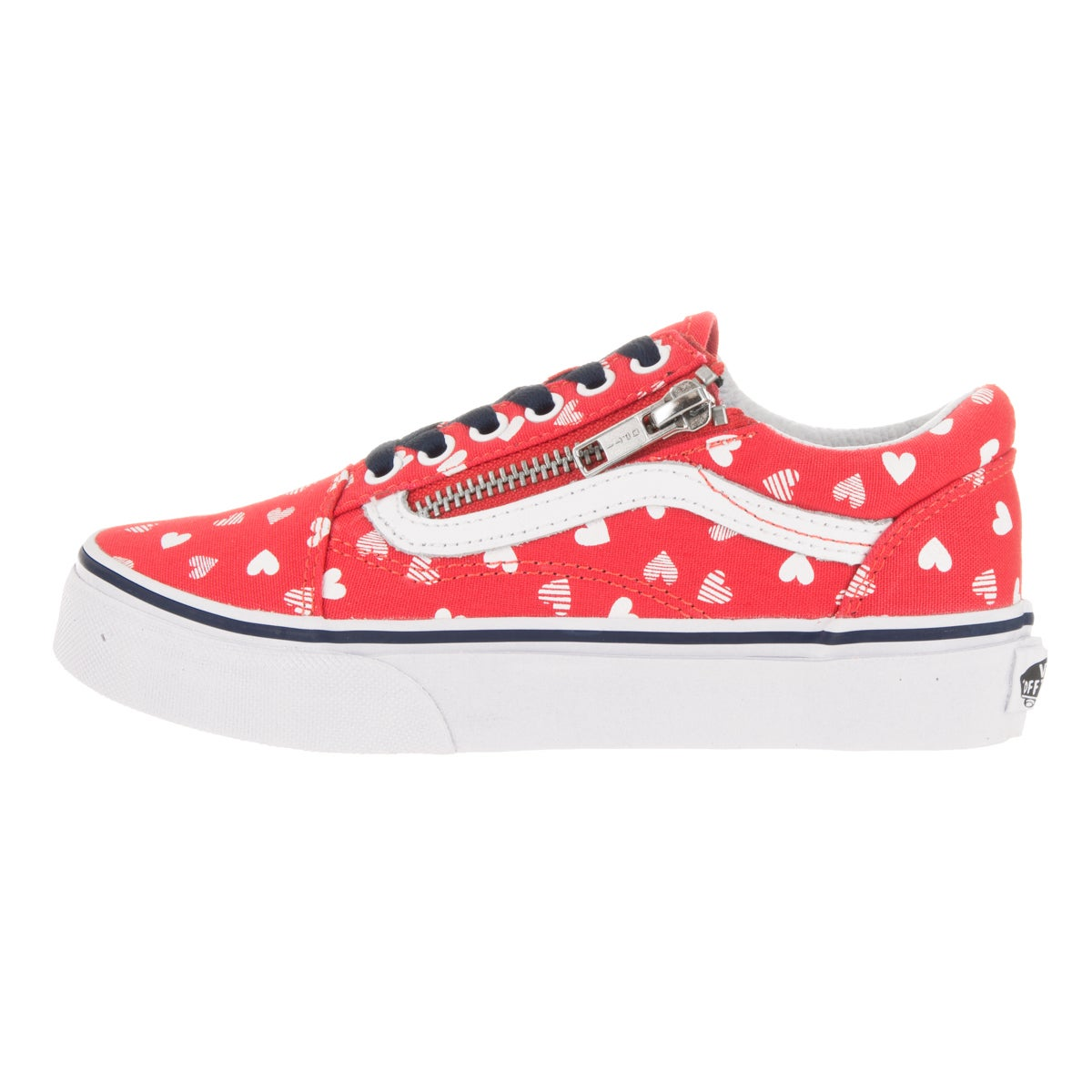 c2887005cc37 Shop Vans Kids  Old Skool Zip Hearts Hibiscus and True White Canvas Skate  Shoes - Free Shipping Today - Overstock - 13394617