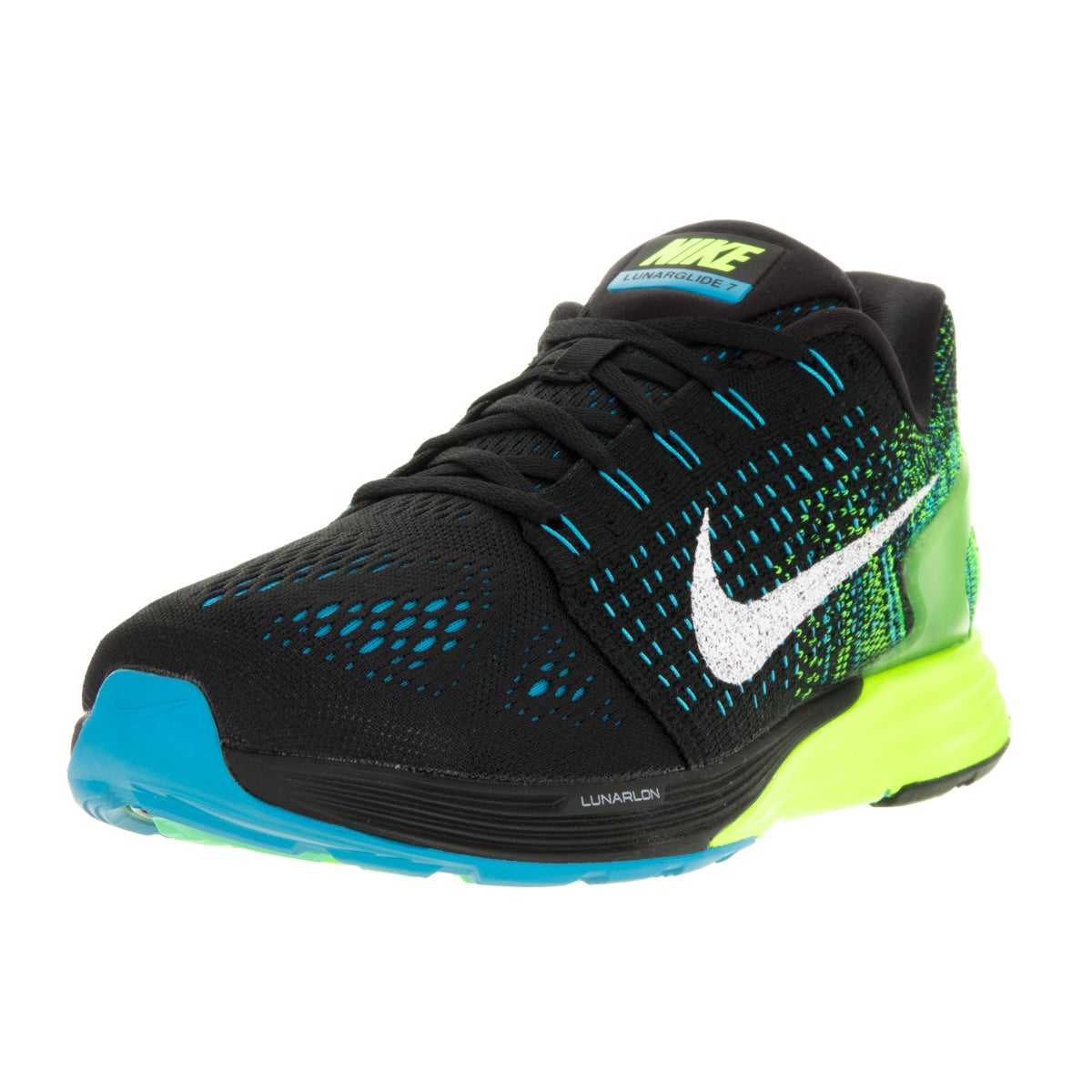 eb63f441524a Shop Nike Men s Lunarglide 7 Black White Blue Lagoon Volt Running Shoe -  Free Shipping Today - Overstock - 13394957