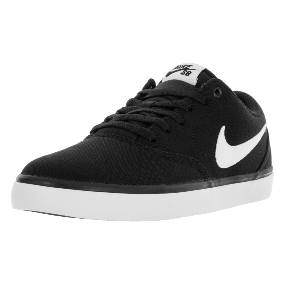 big sale c95df 635e5 Shop Nike Men s SB Check Solar Black White Canvas Skate Shoe - Free  Shipping Today - Overstock - 13395687