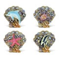 Puzzled Shell Refrigerator Rockstone Magnets (Pack of 4)