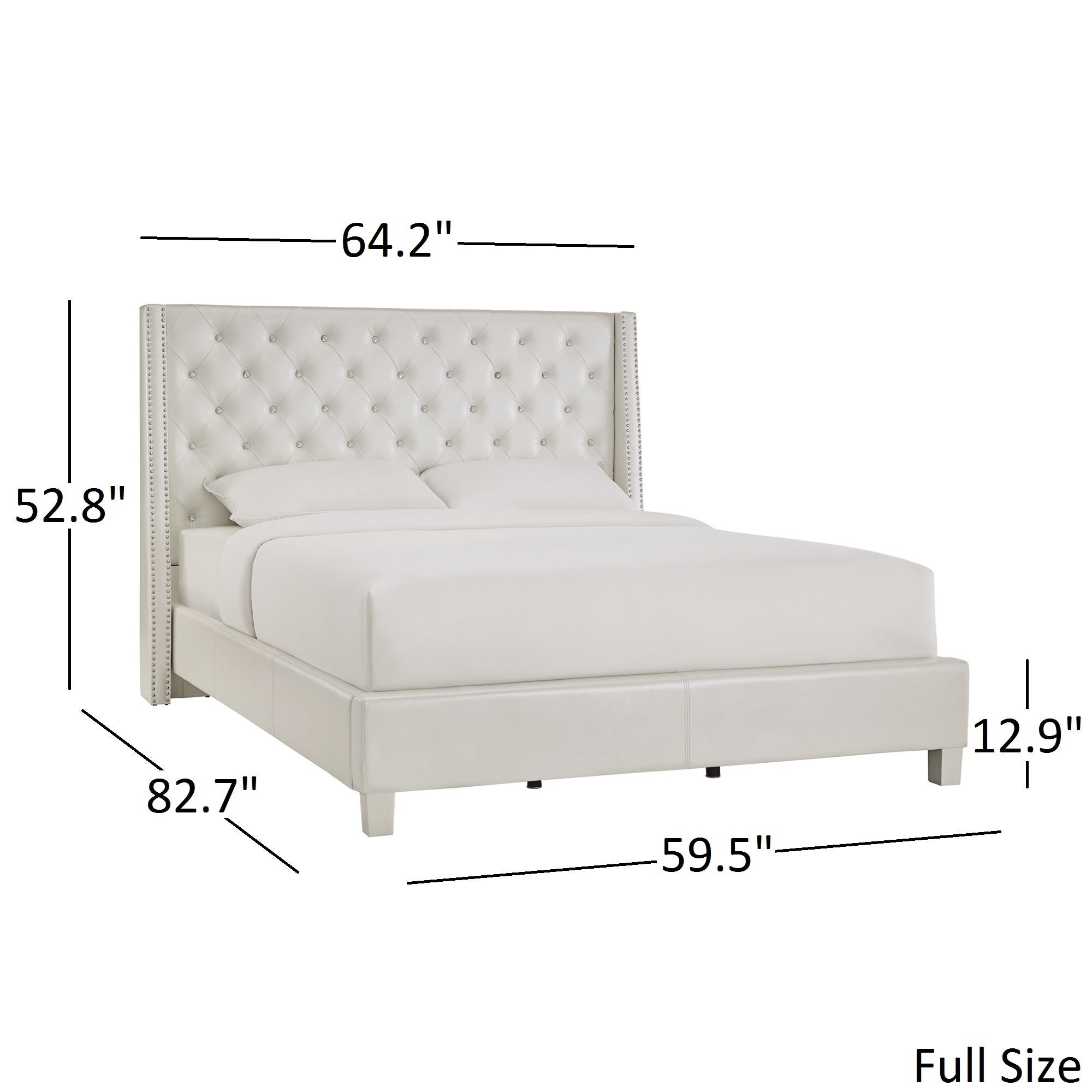 Aurora Faux Leather Crystal Tufted Nailhead Wingback Bed by iNSPIRE Q Bold  - Free Shipping Today - Overstock.com - 20096803