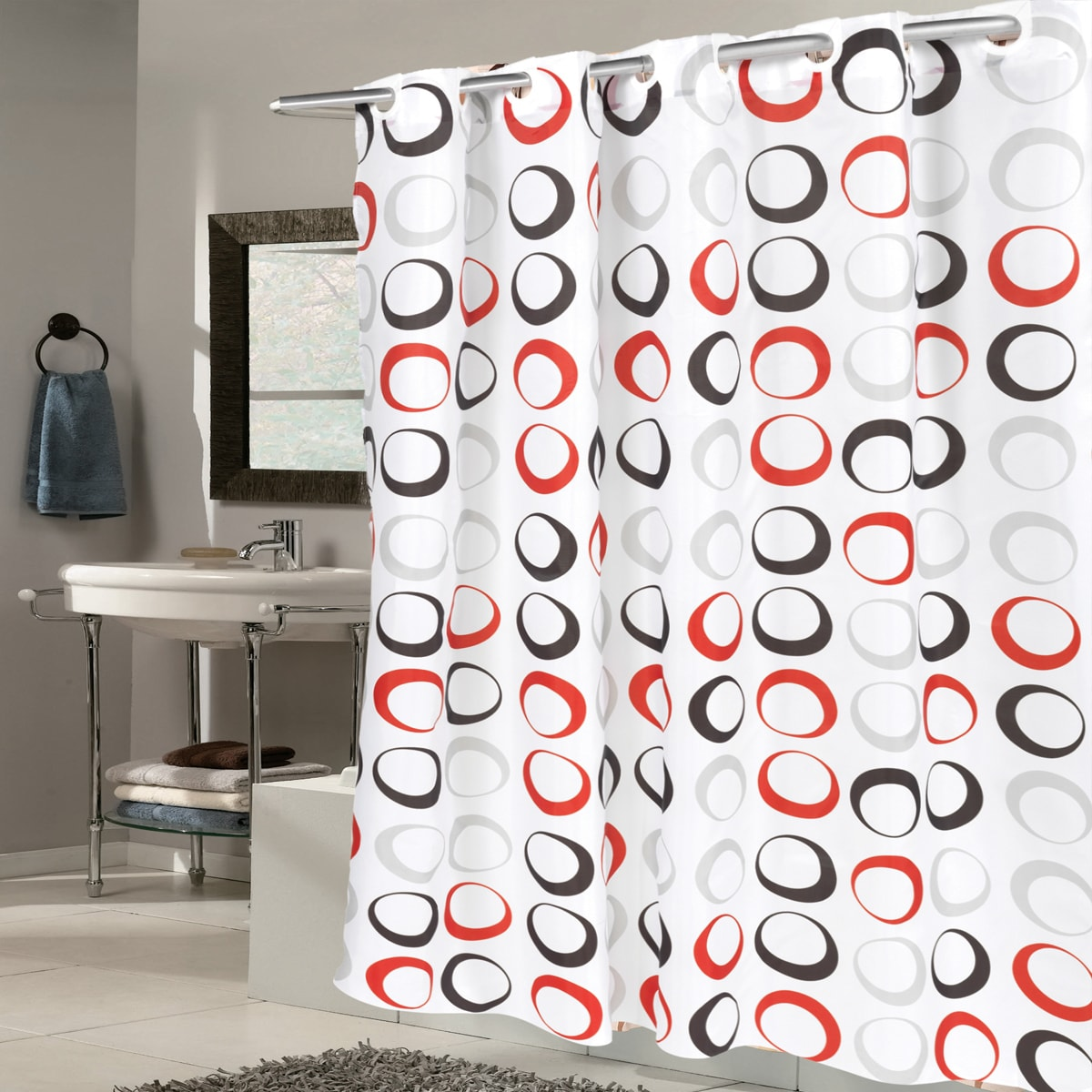 Shop EZ On Circles Fabric With Built in Hooks Black/Grey/Red Shower ...