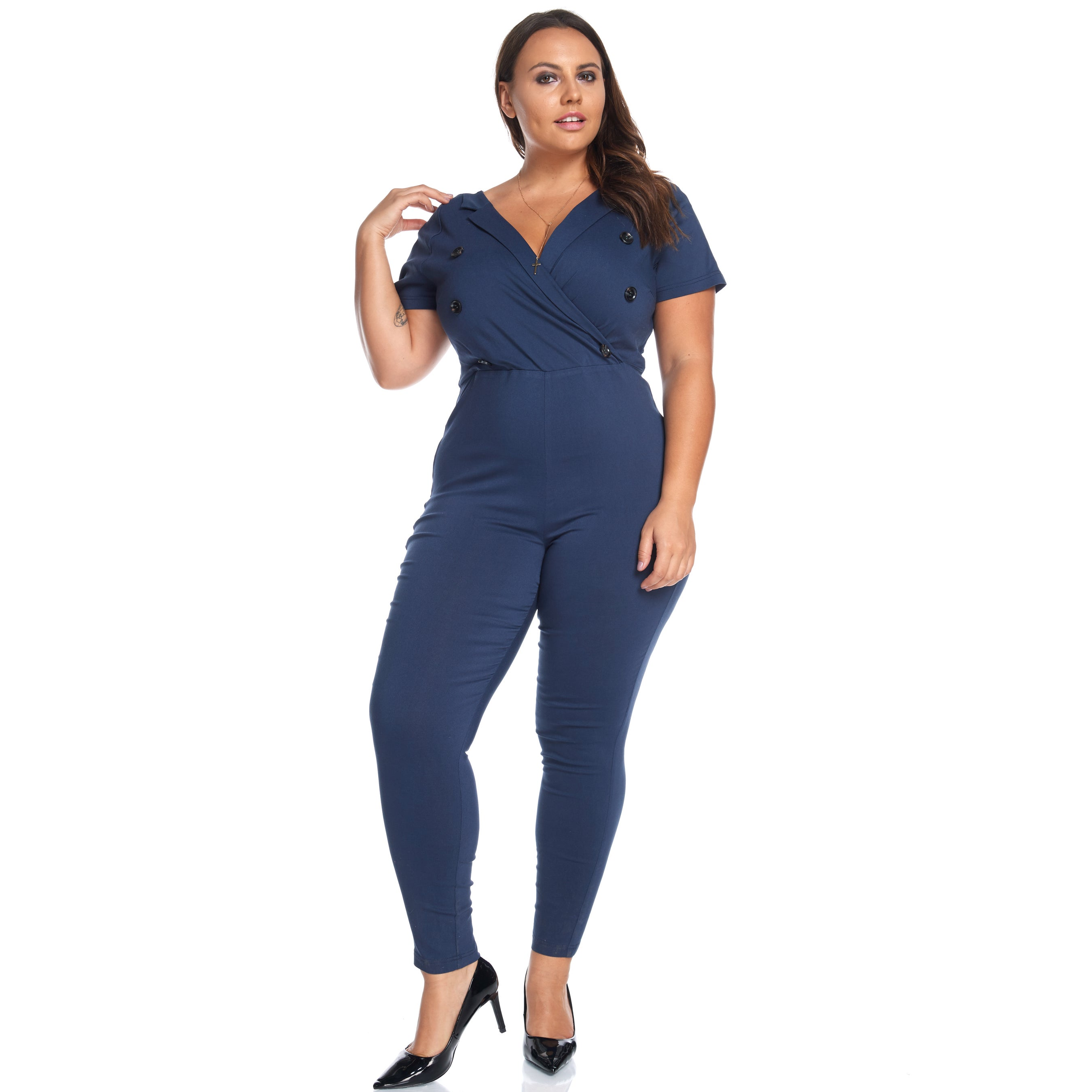 893b61527e4 Shop Hadari Women s Plus Size Slimming V-Neck Navy Button Jumpsuit Playsuit  - Free Shipping On Orders Over  45 - Overstock - 13403761