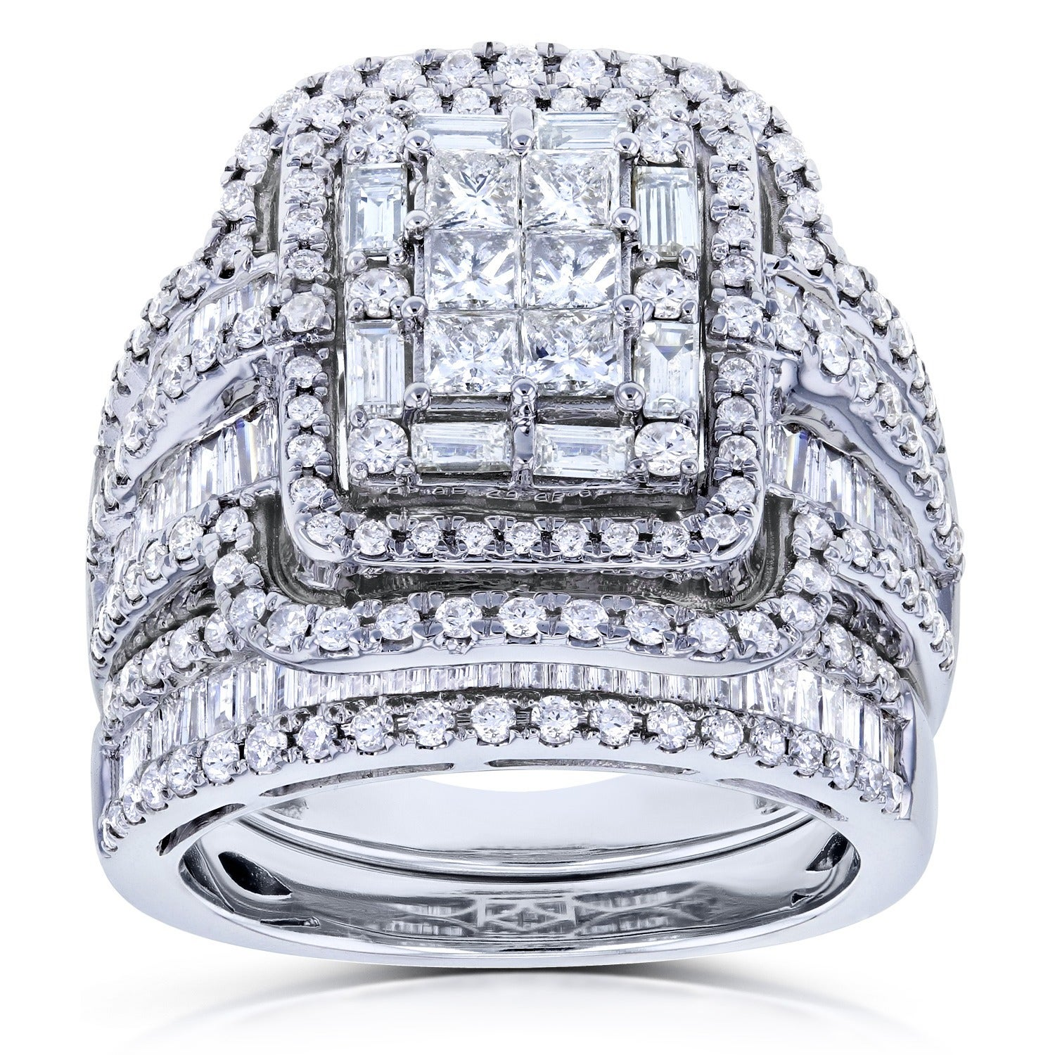 in white rings promise under gold composite engagement diamond ring