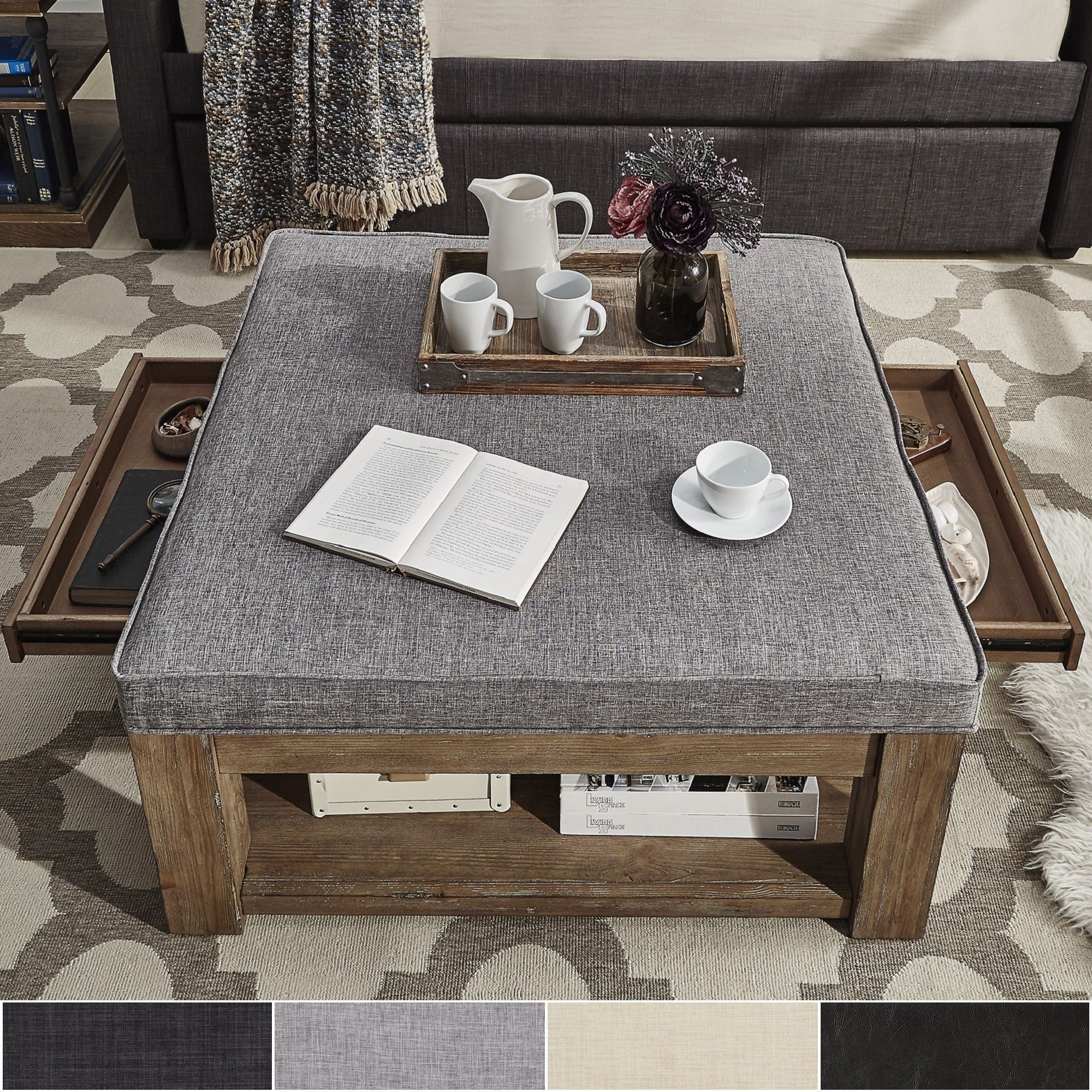 Shop Lennon Pine Square Storage Ottoman Coffee Table By Inspire Q