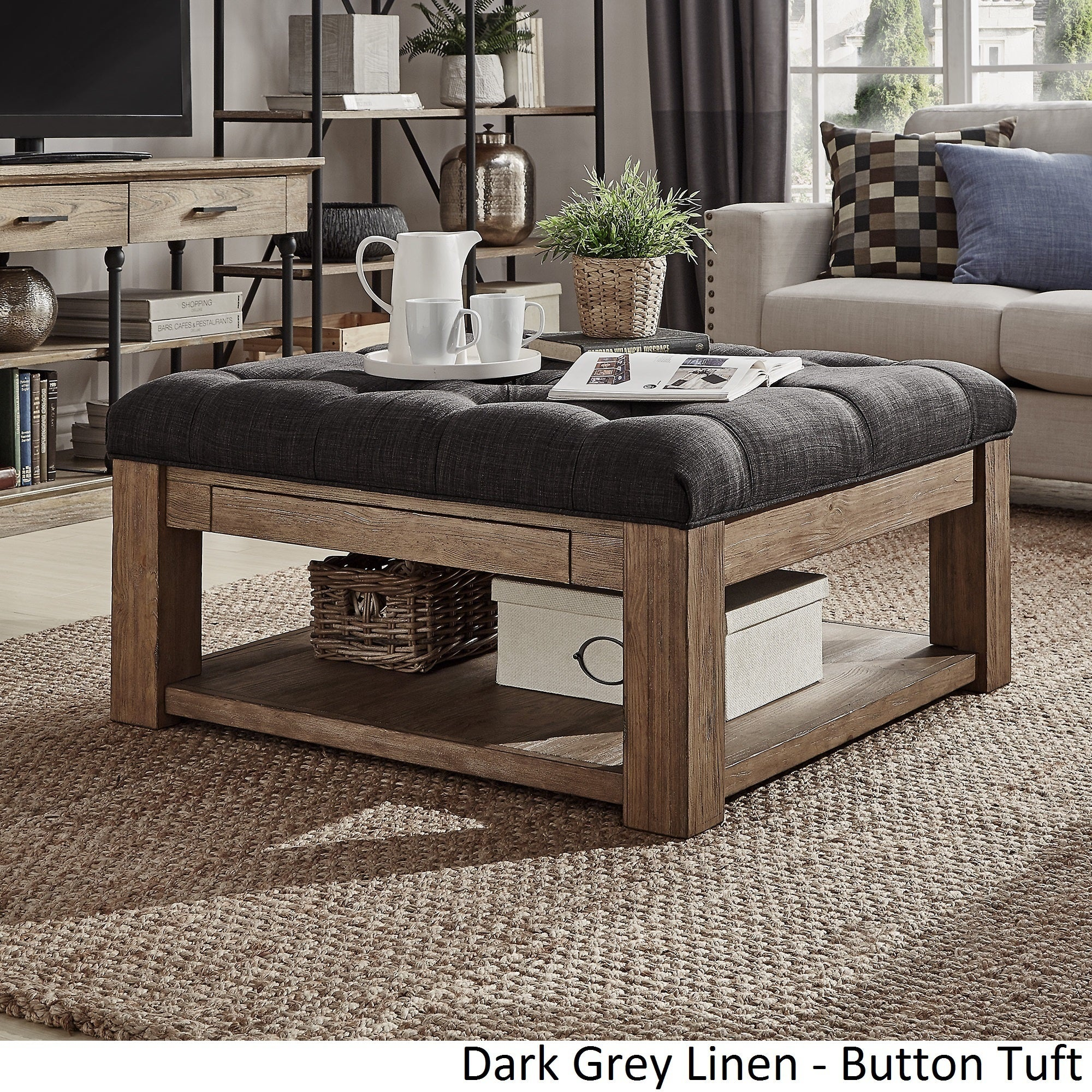 Lennon Pine Square Storage Ottoman Coffee Table by iNSPIRE Q Artisan - Free  Shipping Today - Overstock.com - 20099872