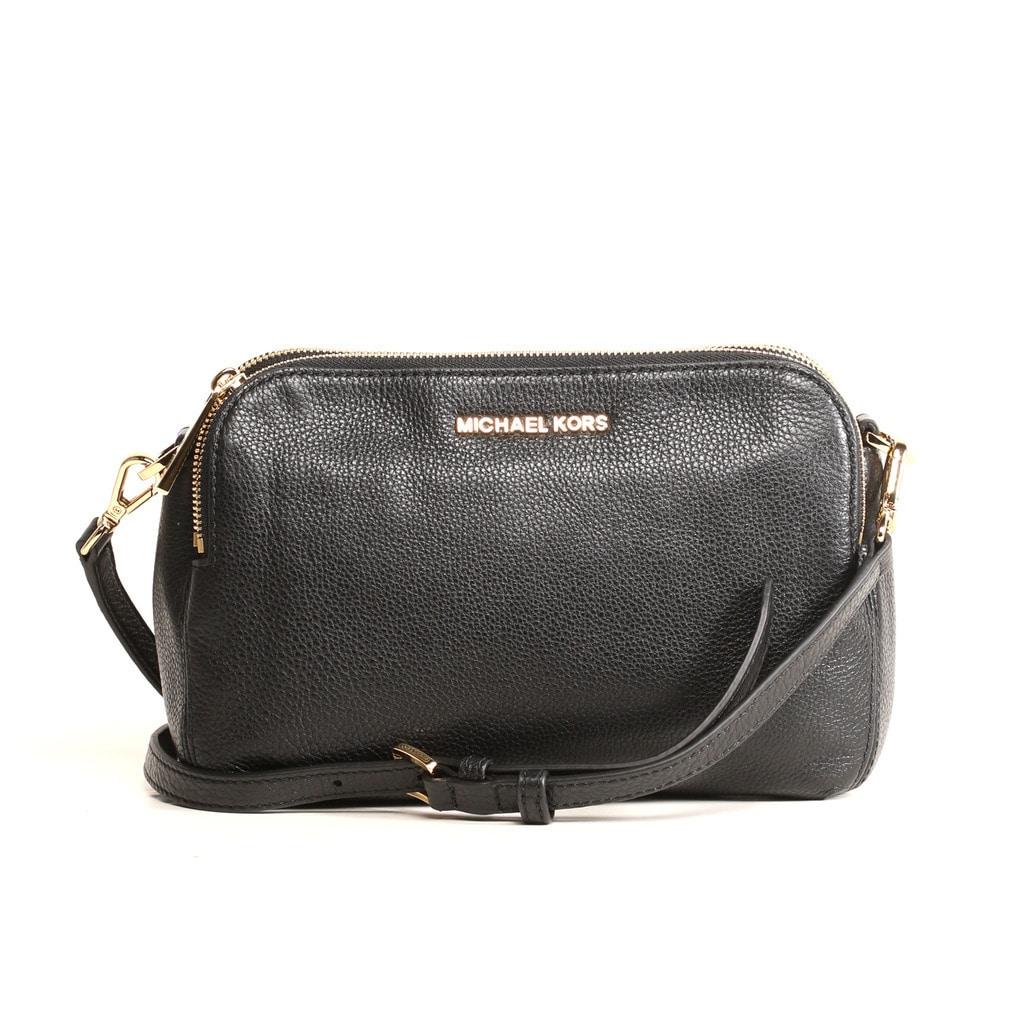 Shop Michael Kors Bedford Medium Black Double Zip Leather Crossbody ... 704e2a1f829f8