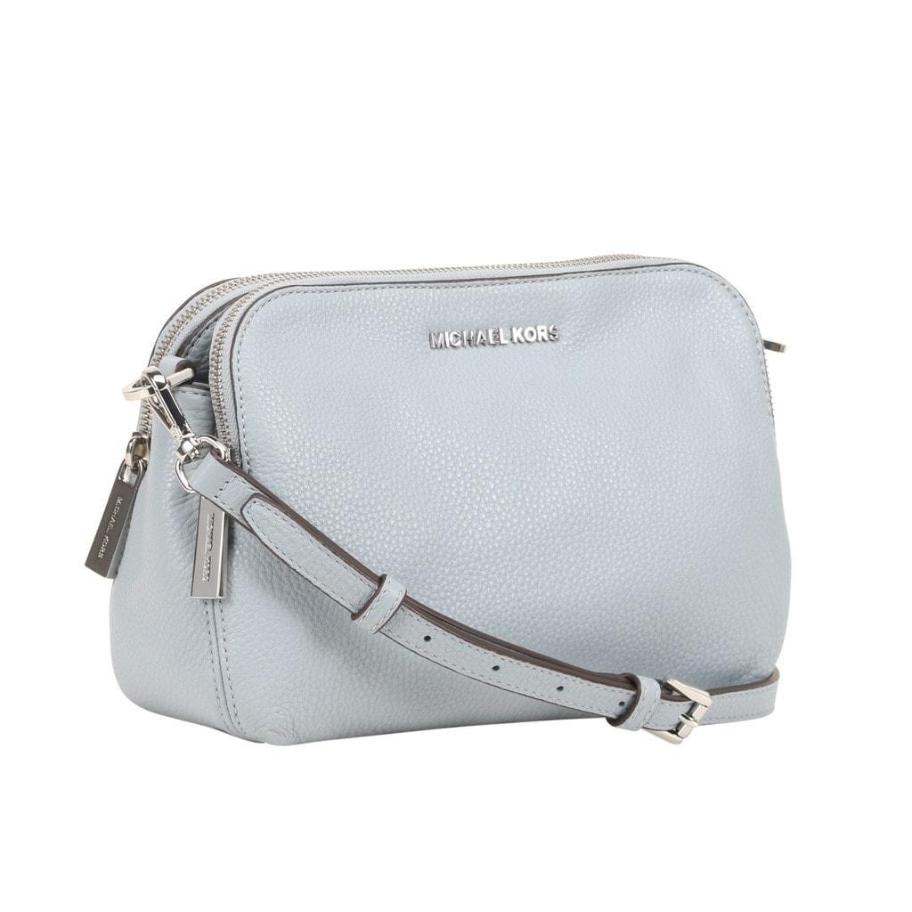 acda181c4208 ... clearance michael kors bedford medium dusty blue double zip leather  crossbody handbag 26ed6 ac2a3