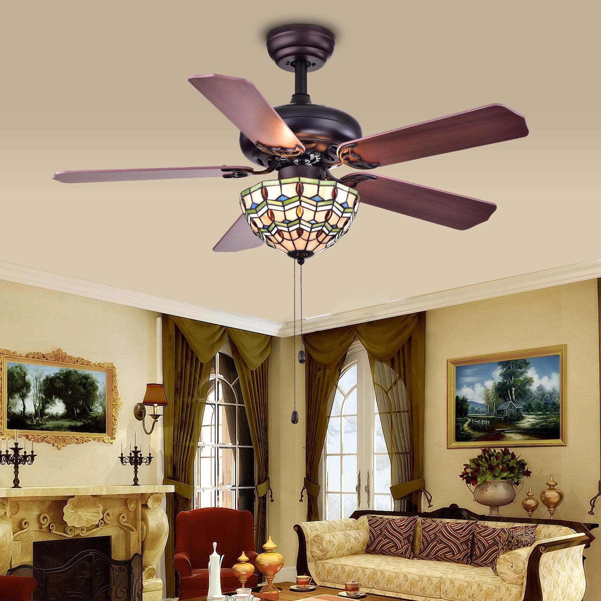 lily tiffany matte product shipping today free home fan kalsti black ceiling garden blade light inch overstock