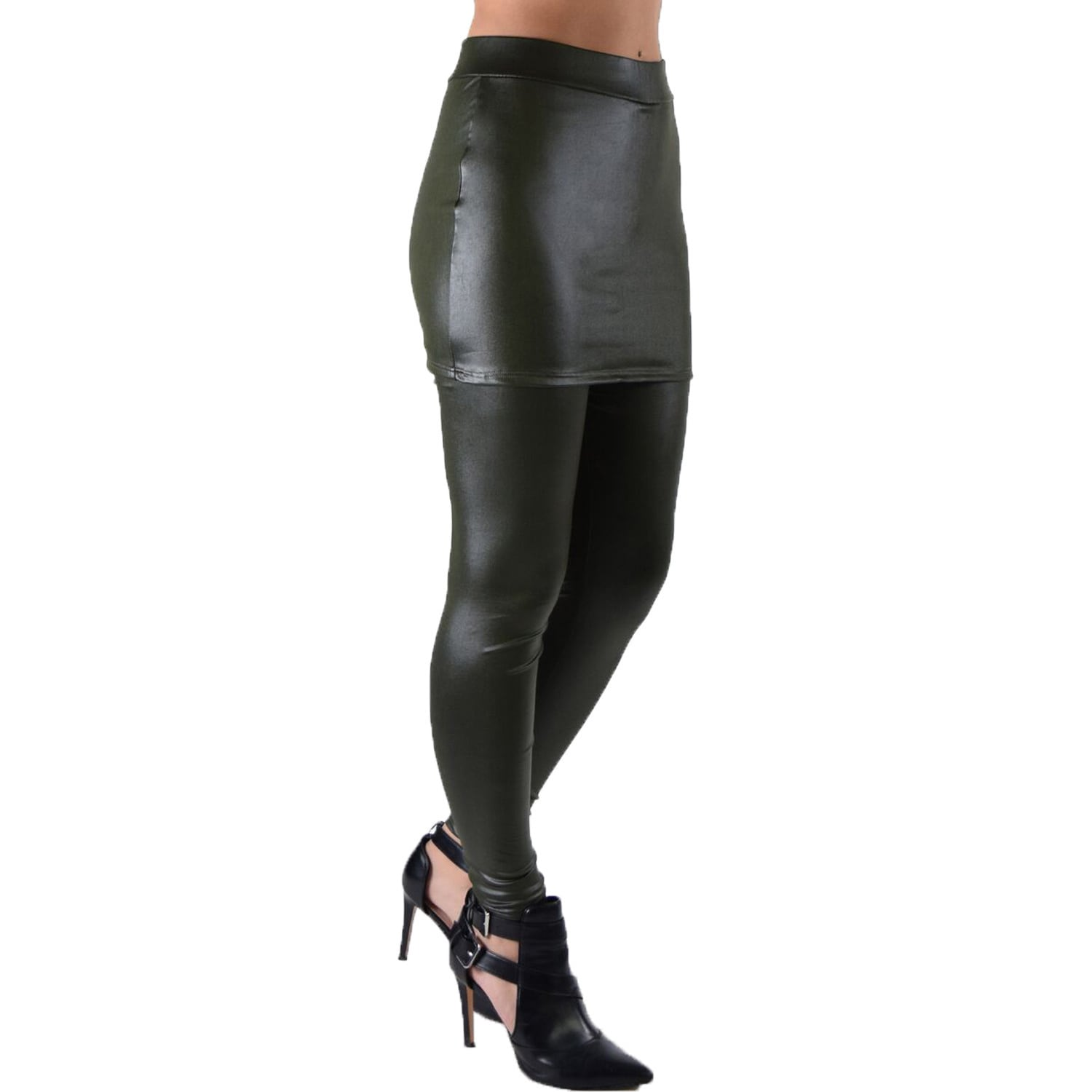 9913e5b17edf1 Dinamit Juniors' Faux Leather Liquid Wet Look Stretchy and Fun Skirt  Leggings