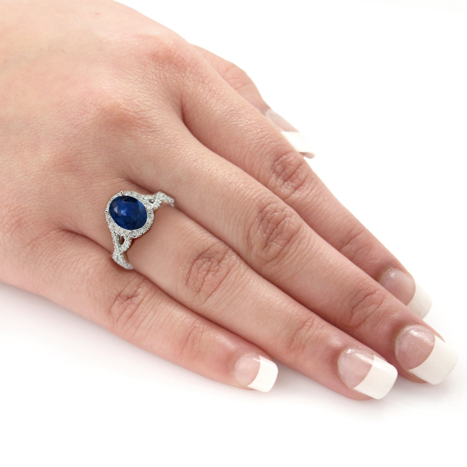 carat blue sapphire ring cushion diamond