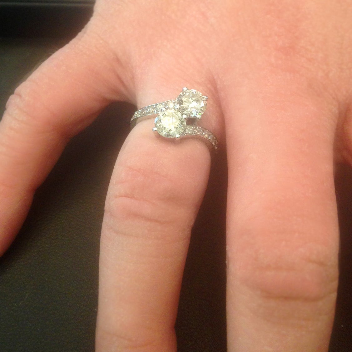 14k White Gold 2ct Forever Us Two Stone Engagement Diamond Solitaire Ring Free Shipping Today 20103237