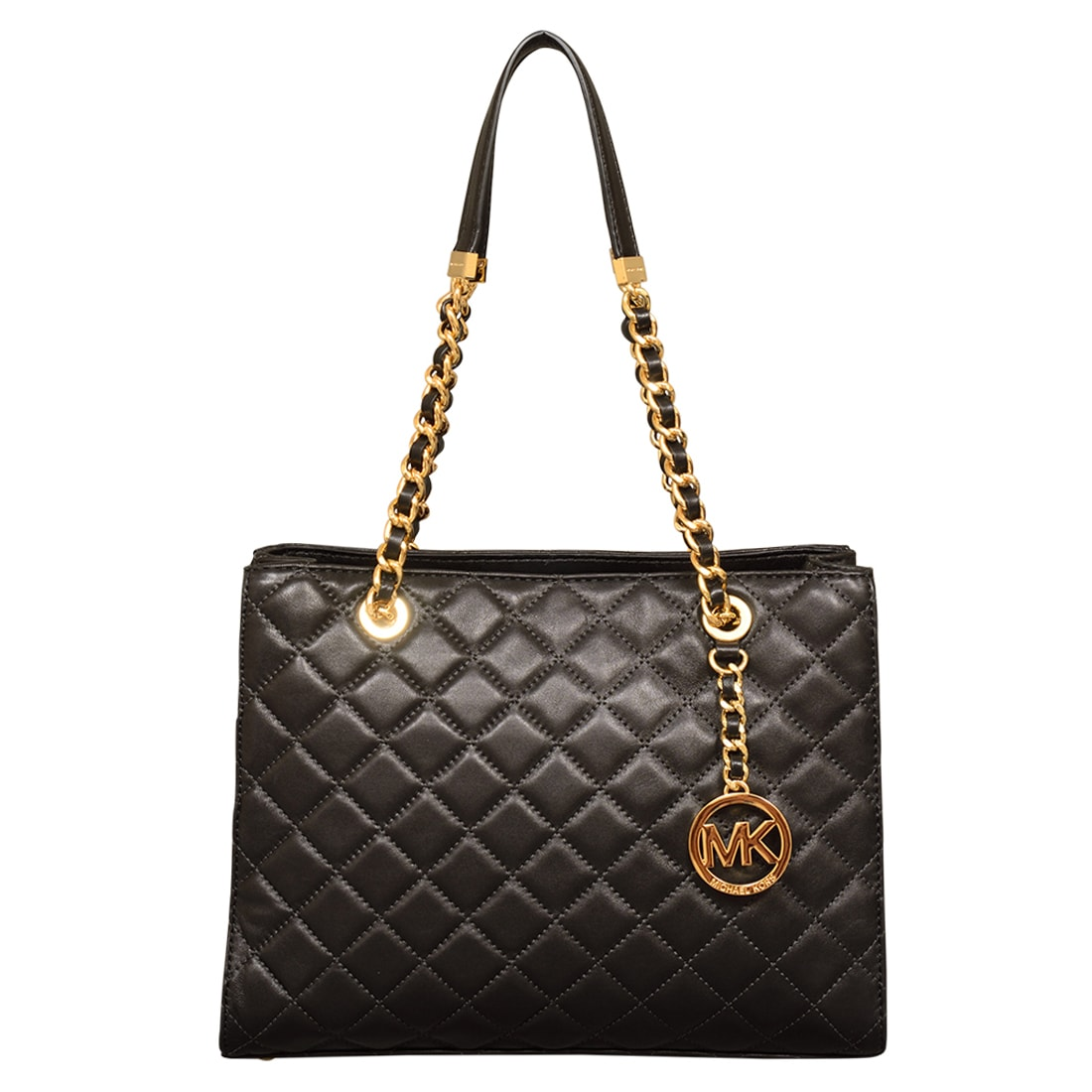75b878186a74 Shop Michael Kors Susannah Medium Black Quilted Leather Tote Bag - Free  Shipping Today - Overstock - 13415915