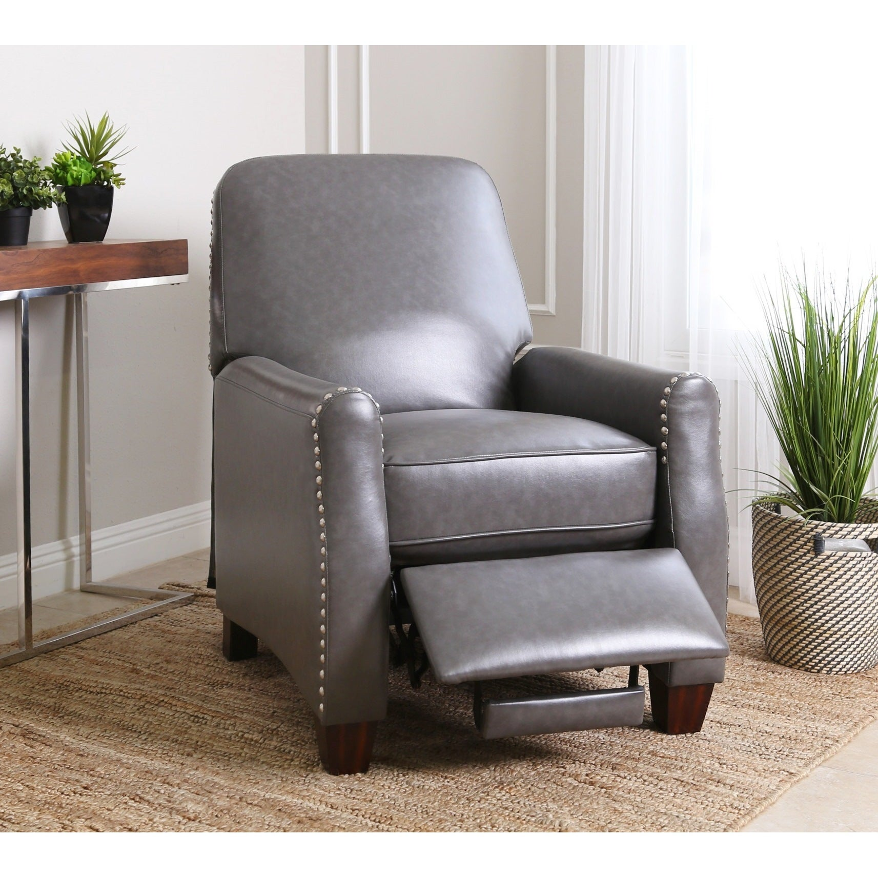 Abbyson Dawson Grey Leather Pushback Recliner - Free Shipping Today ...
